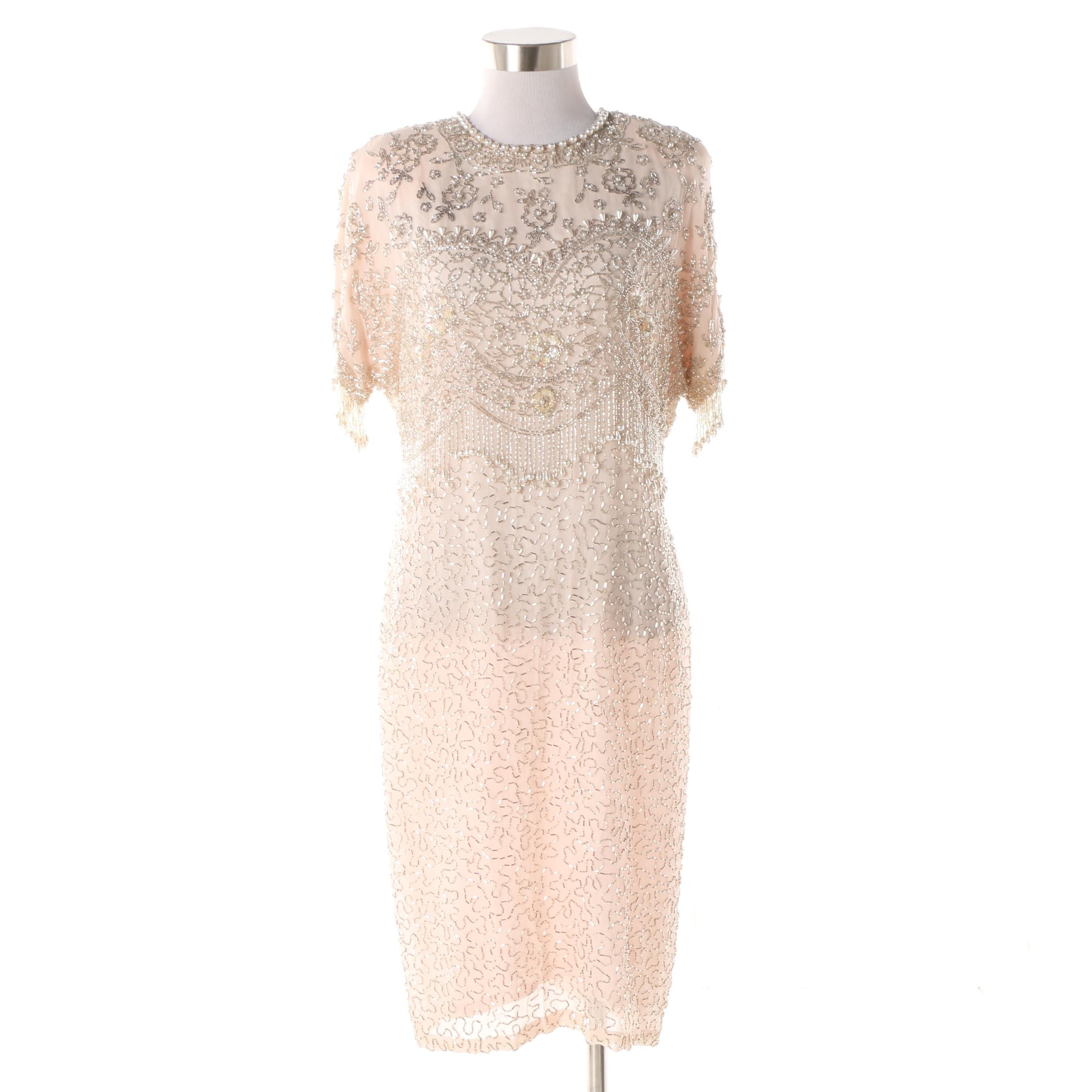 1980s Vintage Black Tie Oleg Cassini Embellished Blush Pink Silk Evening Gown