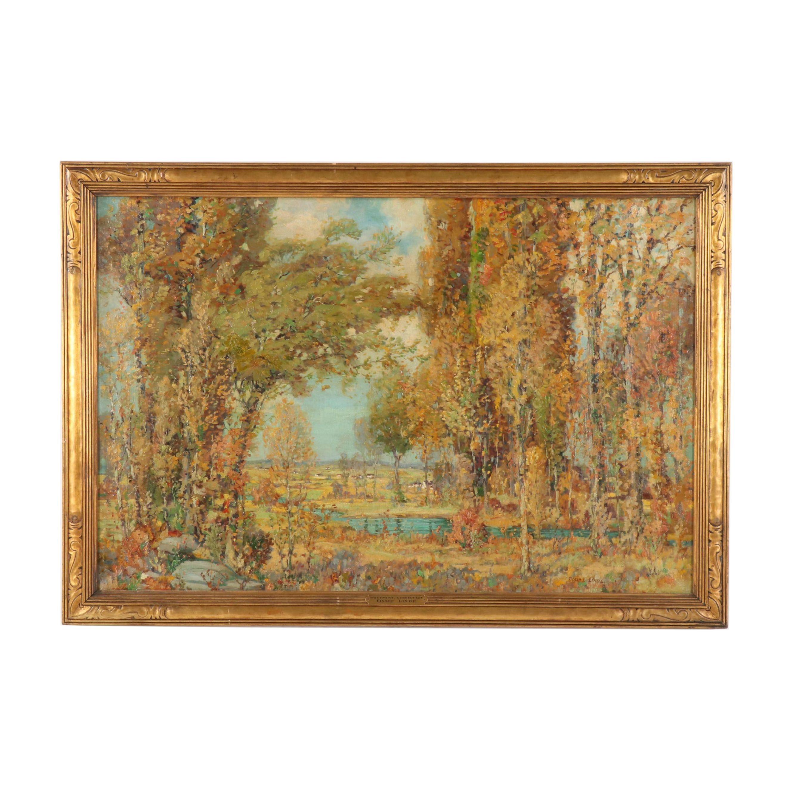 "Ossip Linde Oil Painting ""Westport, Connecticut"""