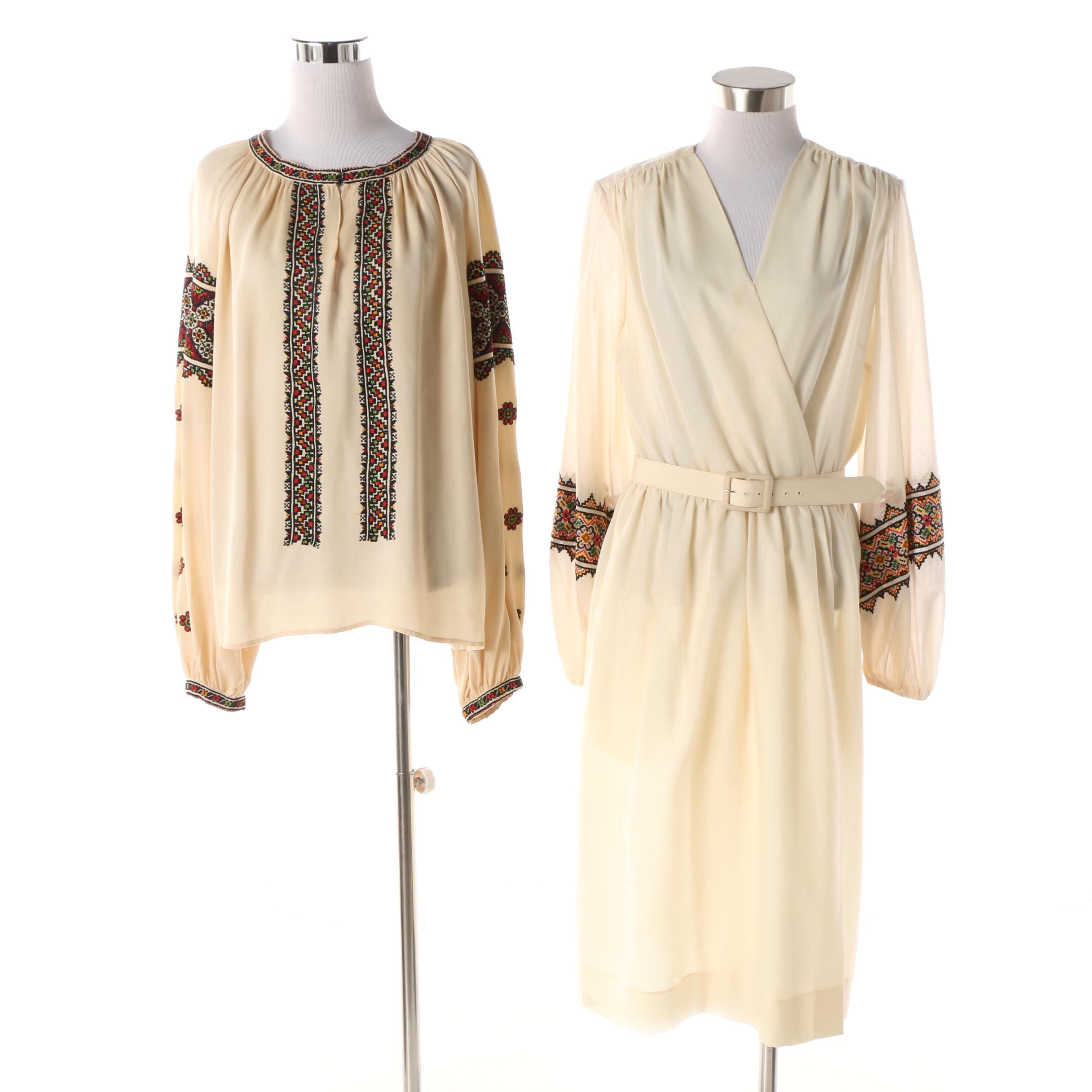 Circa 1970s Folk Inspired Embroidered Dress and Blouse