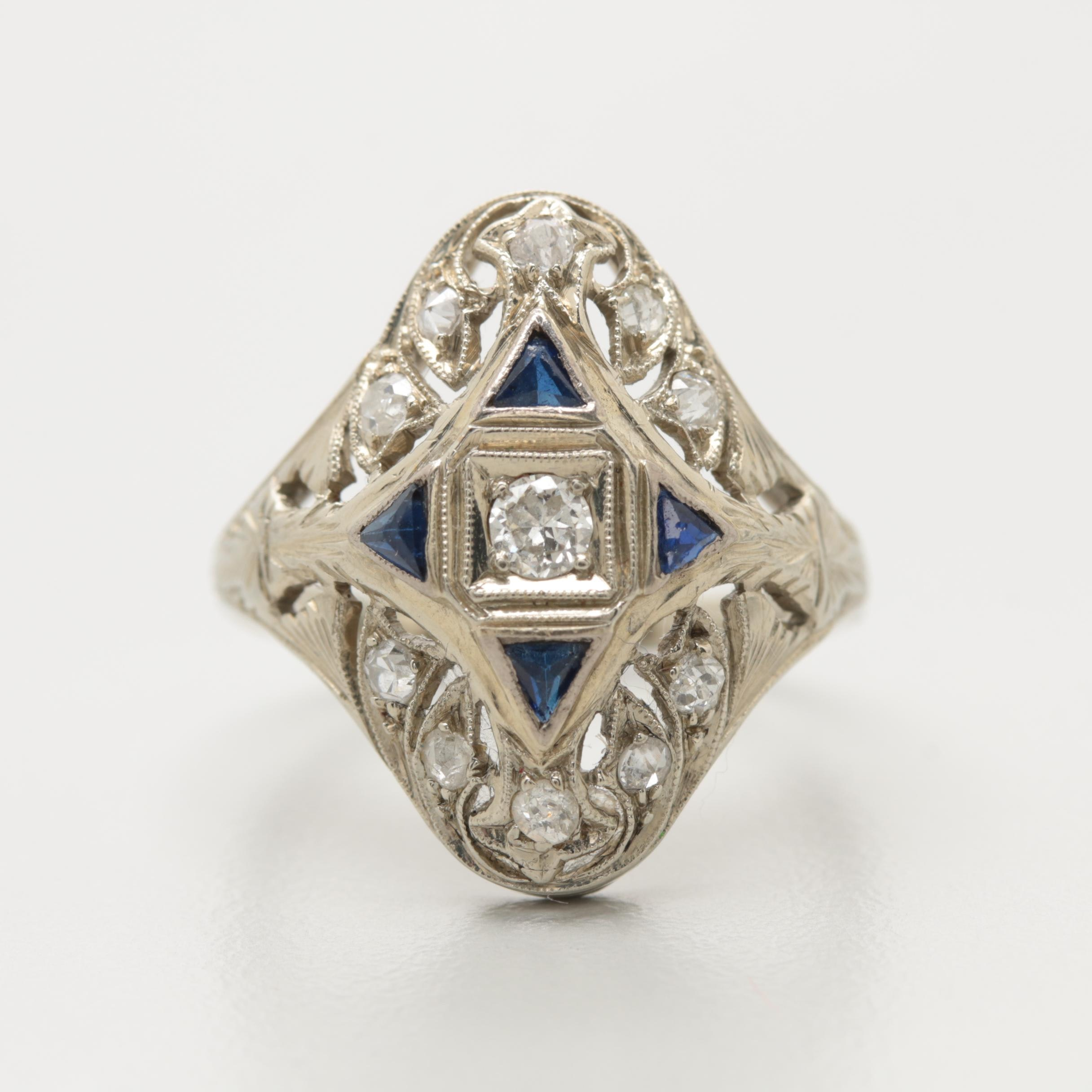 Art Deco 18K White Gold Diamond and Synthetic Sapphire Ring