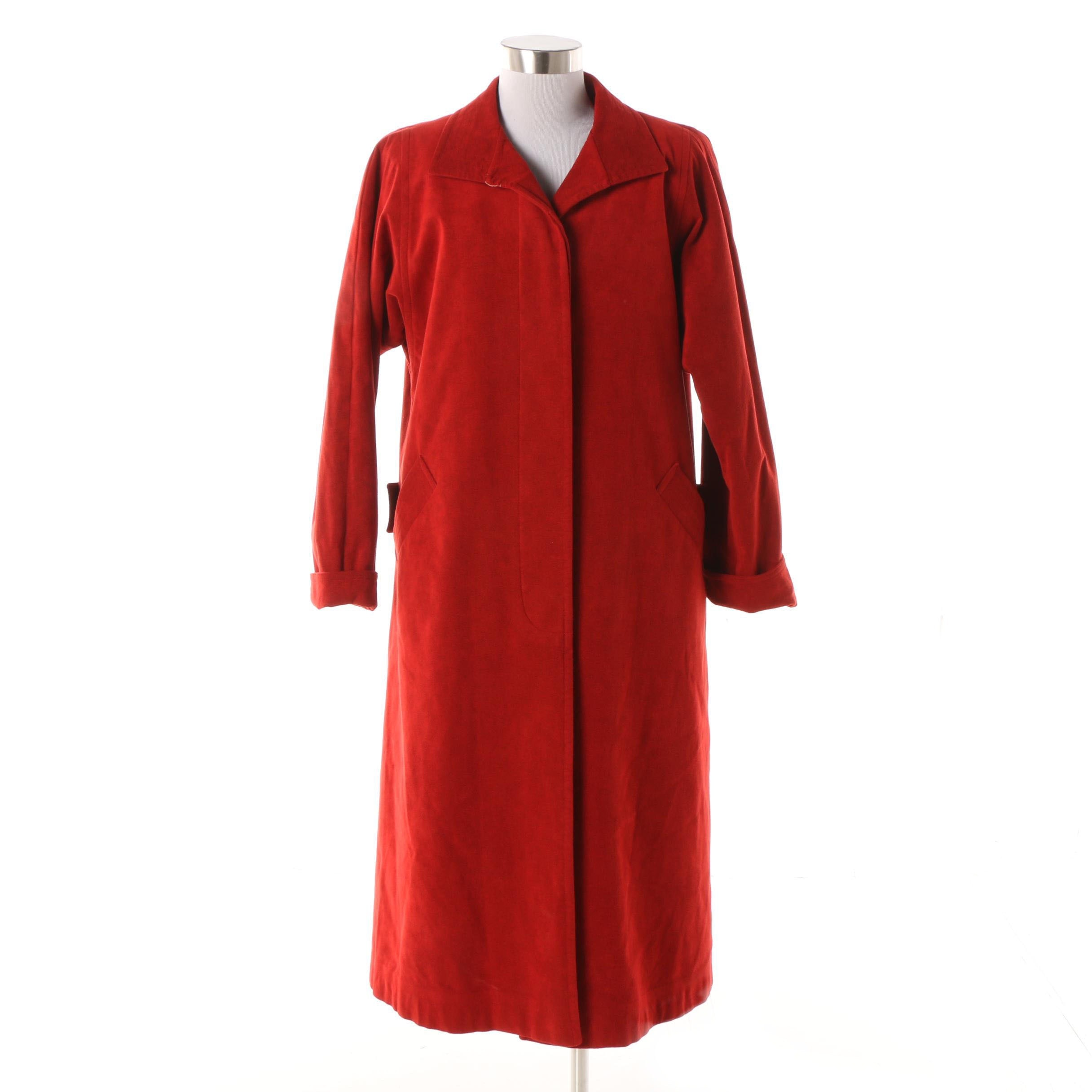 Circa 1960s Nora Zandré Red Ultrasuede Coat with Sheared Beaver Fur Lining