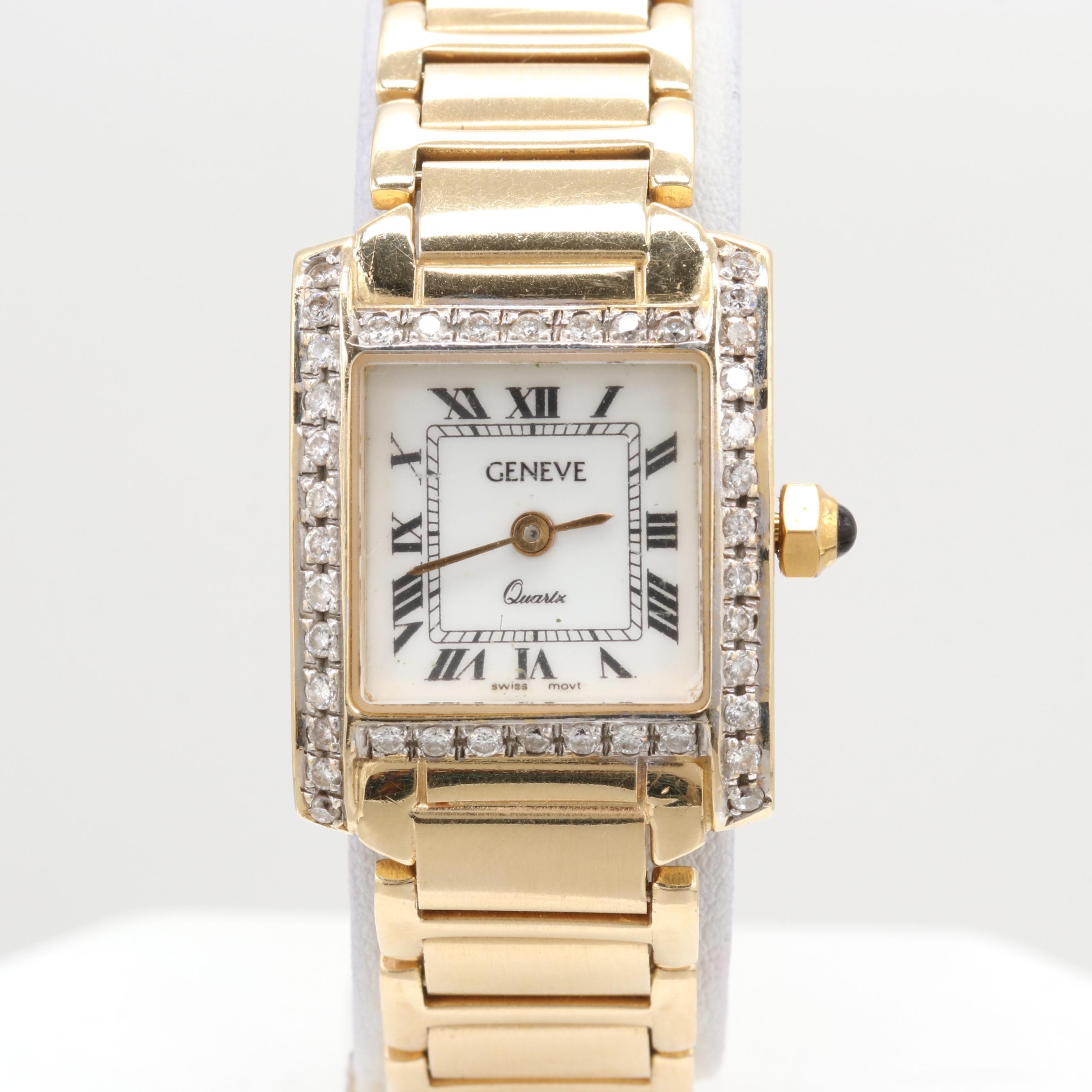 Geneve 14K Yellow Gold Quartz Wristwatch With Diamond Bezel