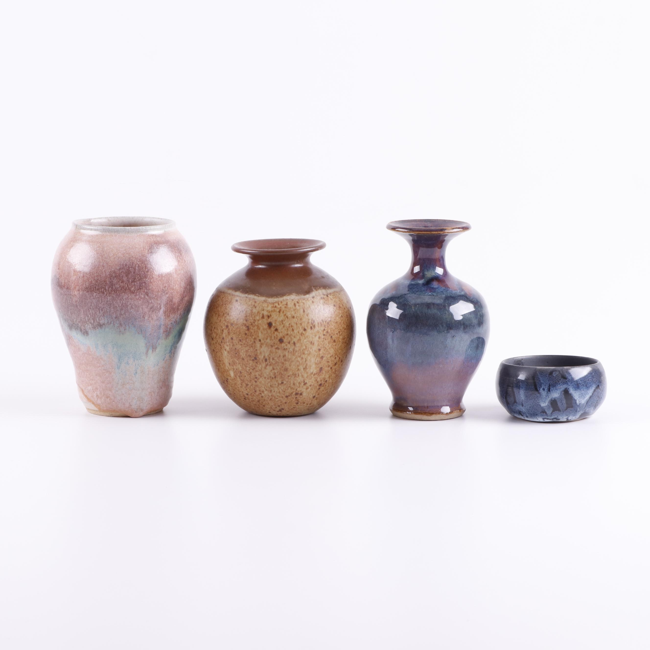 Signed Hand Thrown Vases and Bowl
