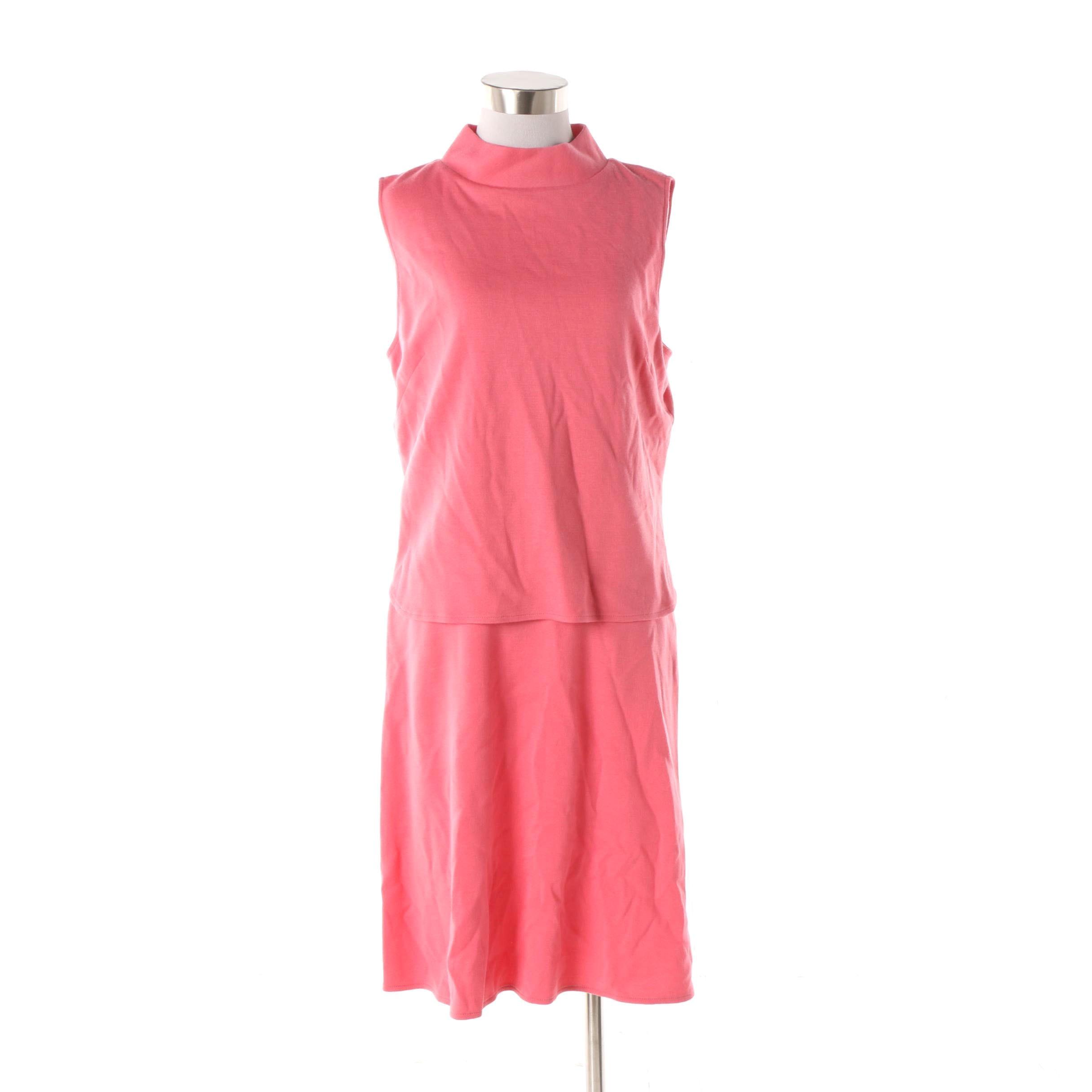 St. John Coral Pink Overlay Bodice Sleeveless Dress