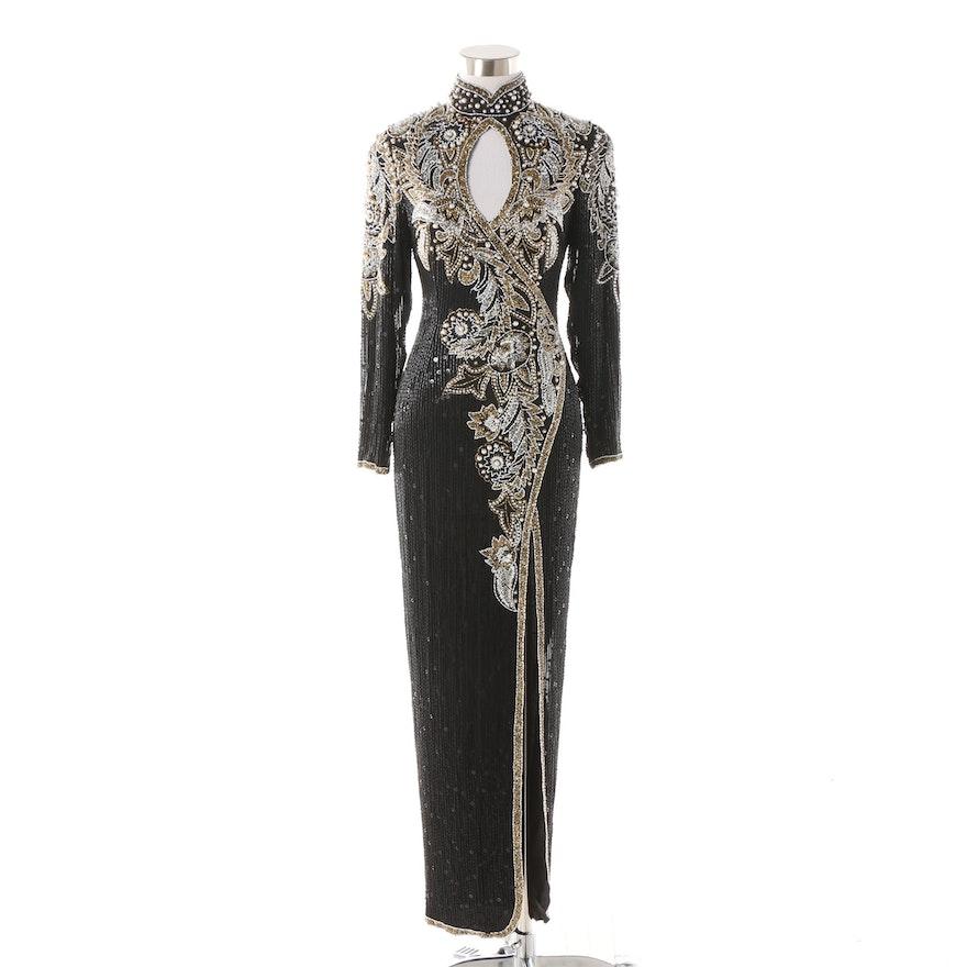 2039cb35c2 1980s Vintage Lillie Rubin Beaded Black Silk Evening Gown   EBTH