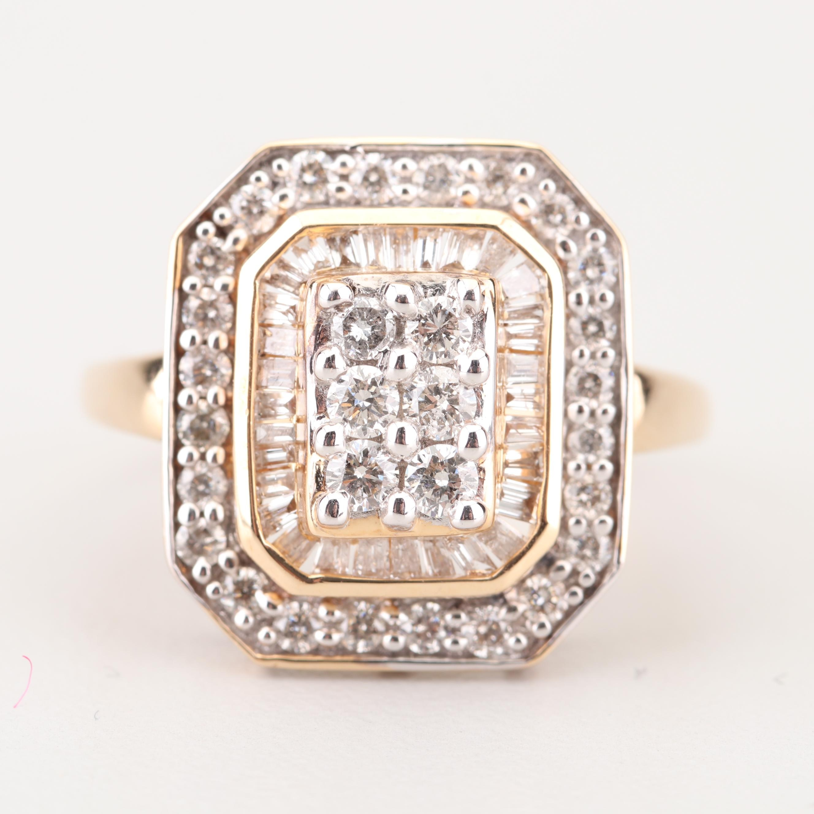 14K Yellow Gold 1.03 CTW Diamond Ring