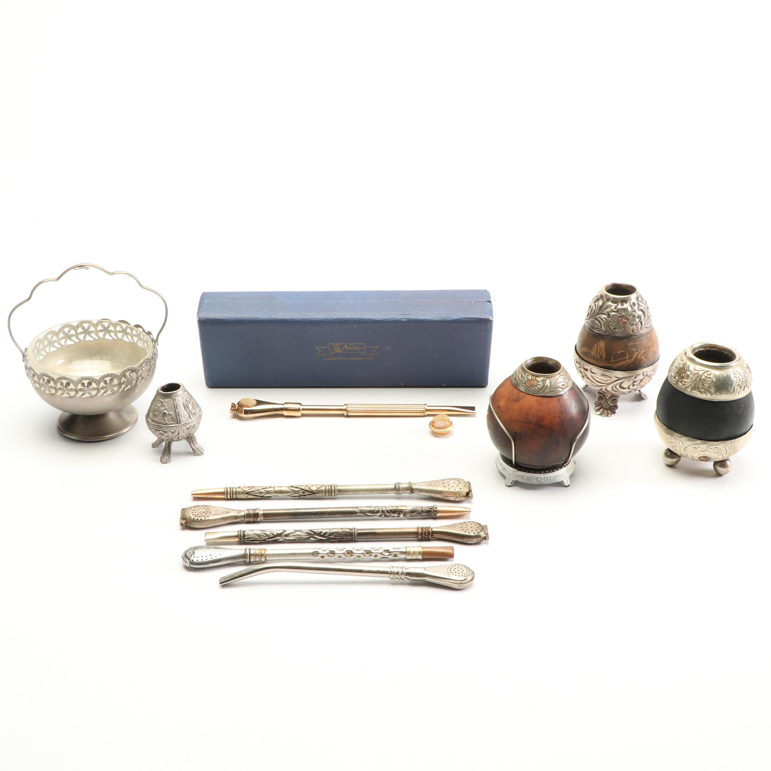 Alpacca Silver Yerba Mate Gourds and Straws with Silver Plate Sugar Basket