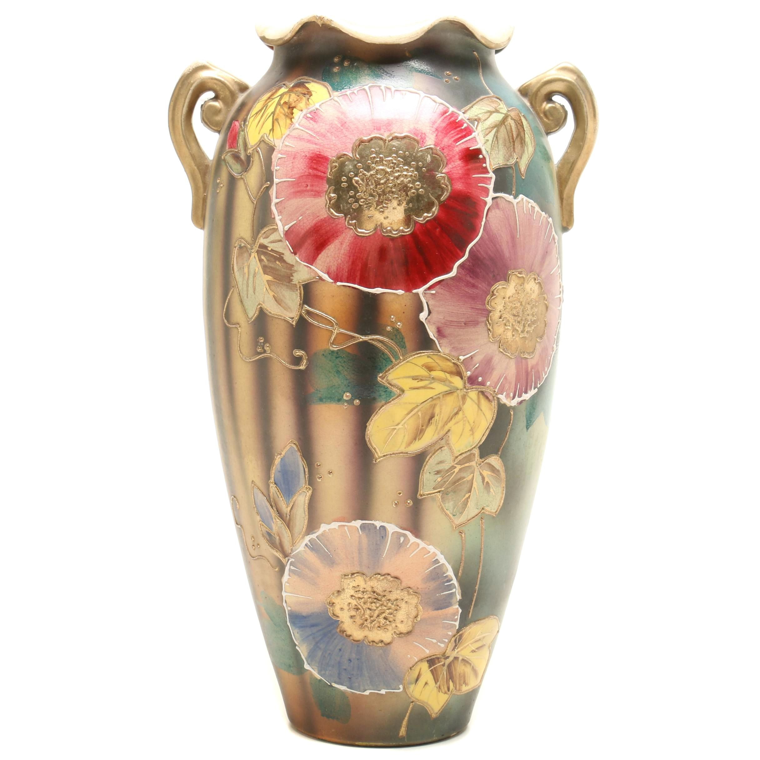 Vintage Hand Painted Floral Vase with Gold Gild Accents
