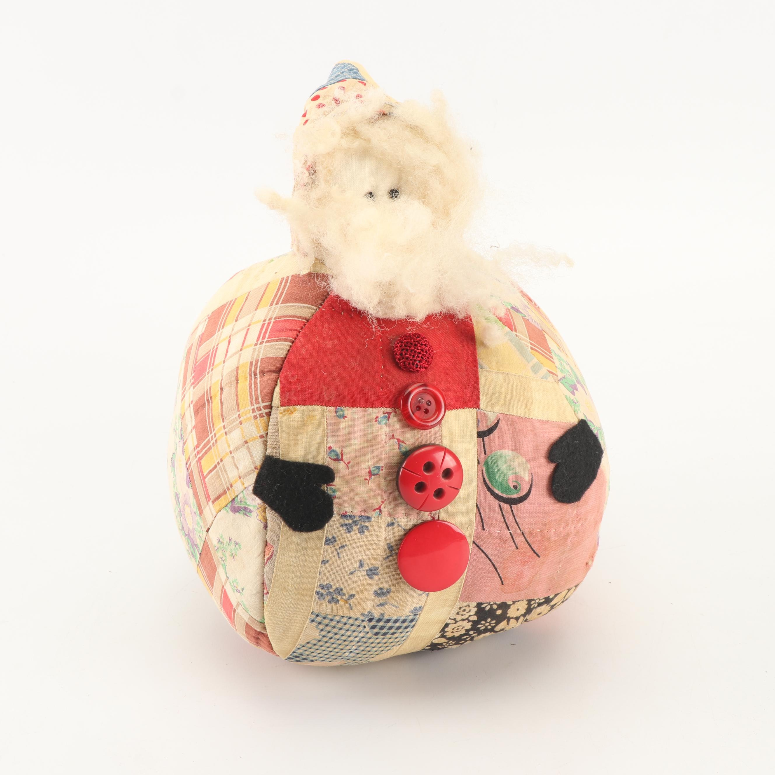 Hand-Crafted Quilted Plush Santa Claus