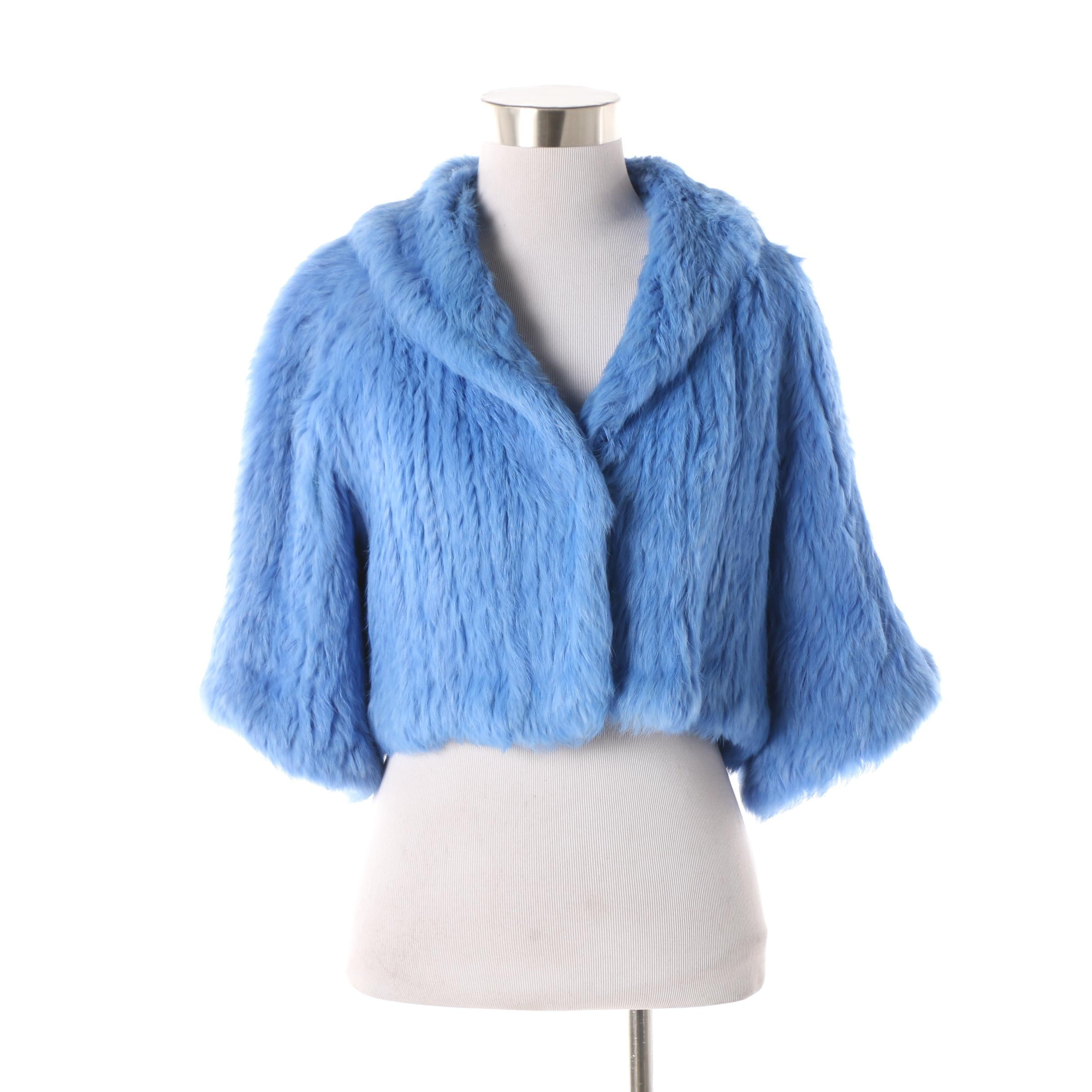 Sisters Outerwear Blue Knitted Rabbit Fur Shrug