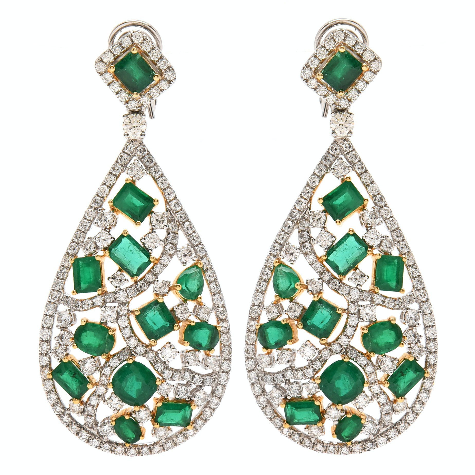 18K White Gold 8.07 CTW Emerald and 7.53 CTW Diamond Dangle Earrings