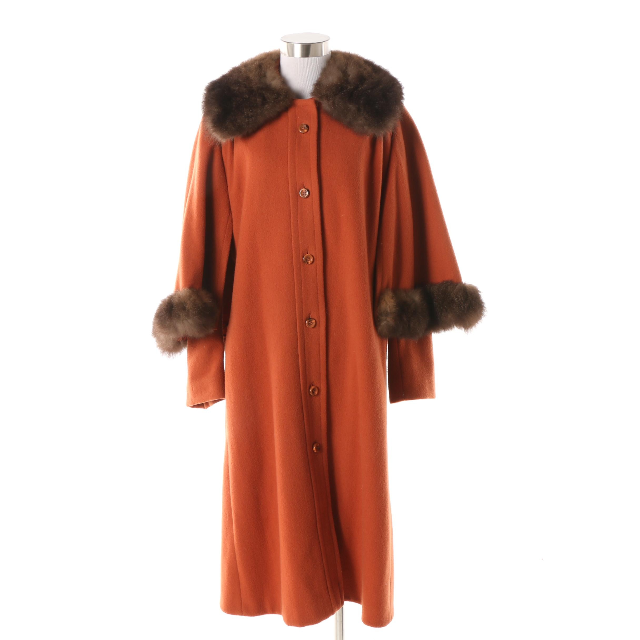 Orange Wool Cape Coat with Muskrat Fur Collar and Cape Accents