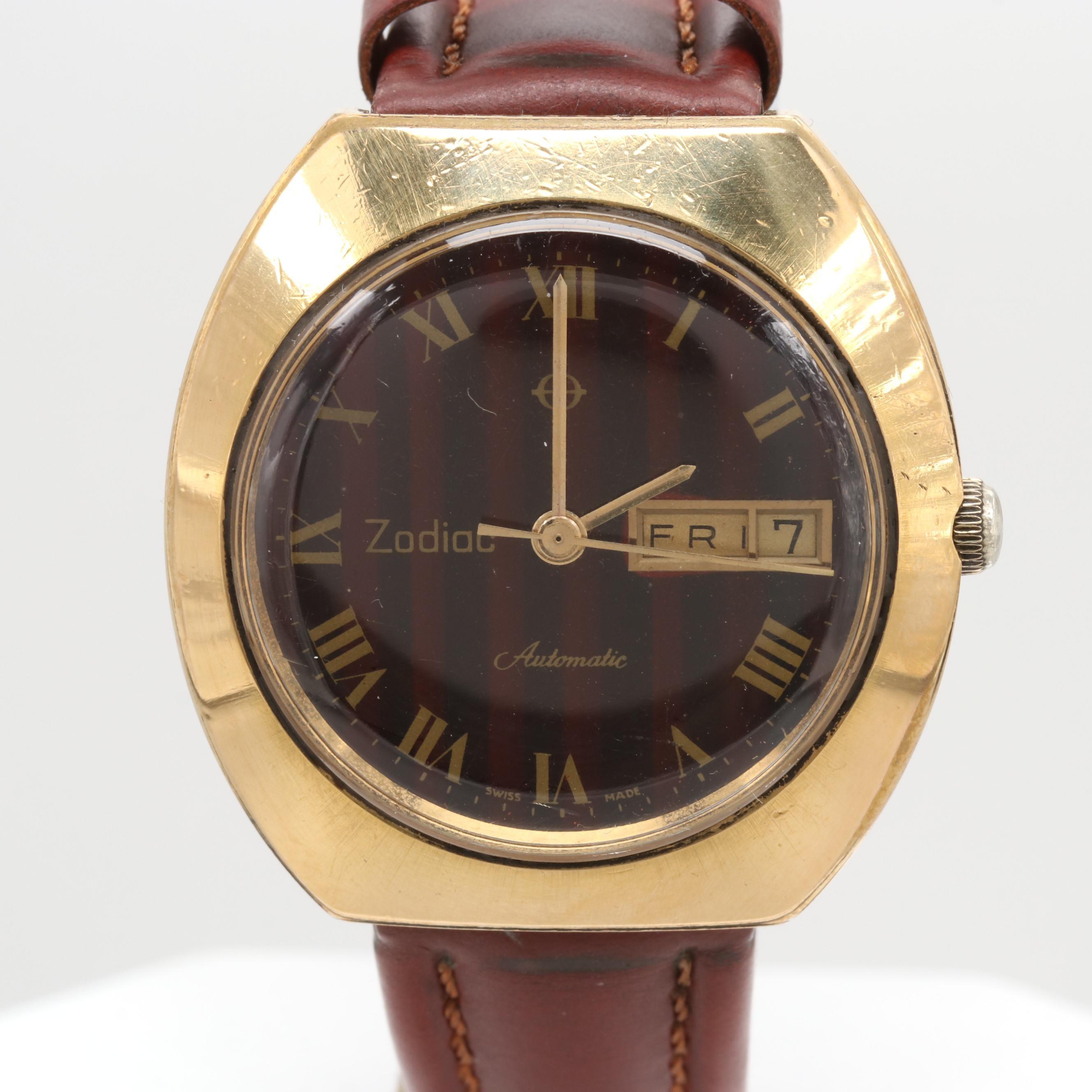 Zodiac Stainless Steel Day/Date Automatic Wristwatch