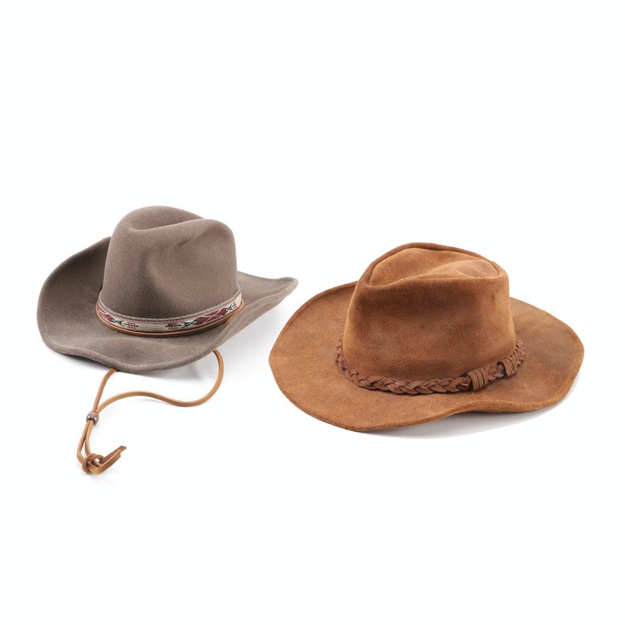 68b0be8df6cdc Men s Minnetonka Leather and Bailey Felted Wool Western Hats   EBTH