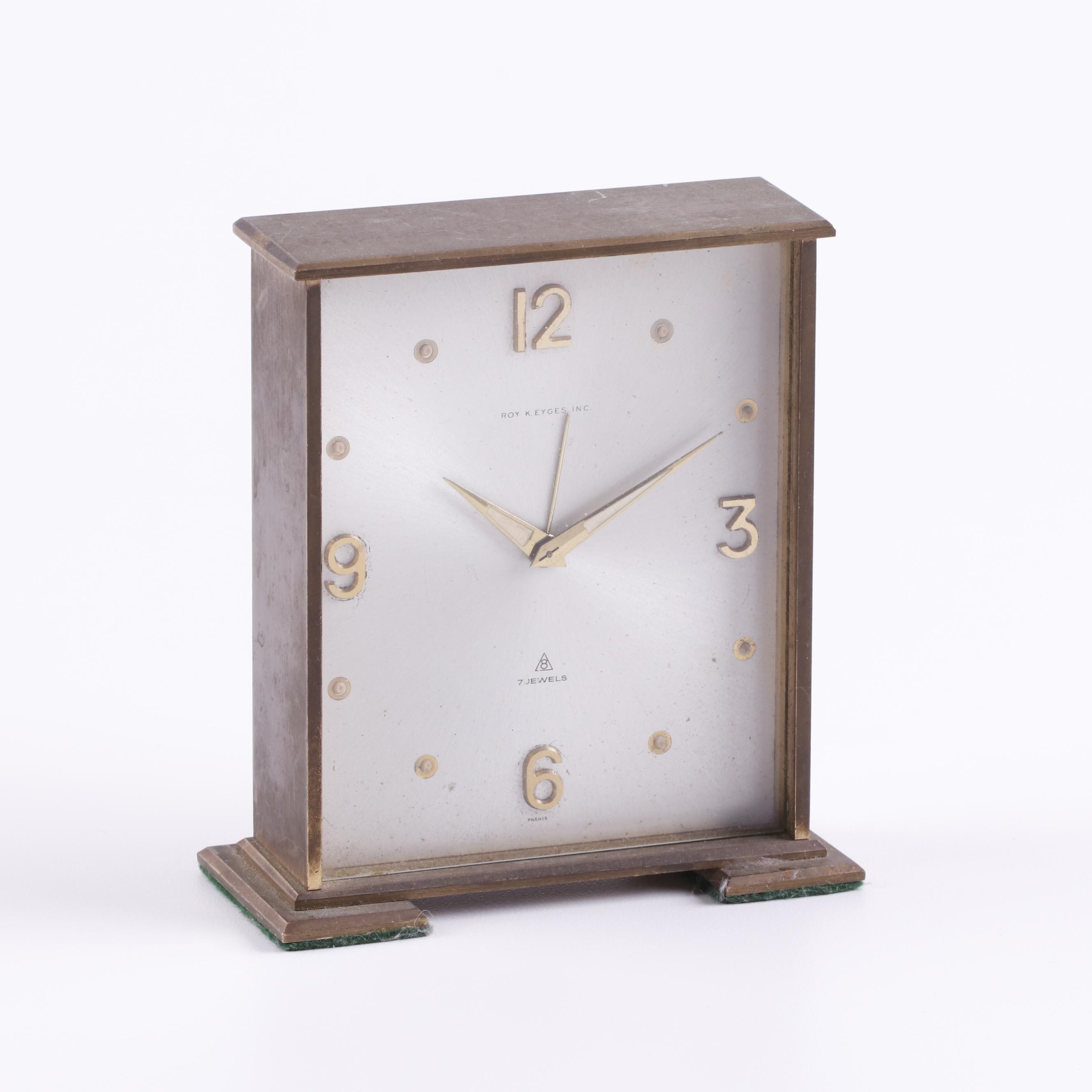 French Roy K. Eyges Brass Desk Clock