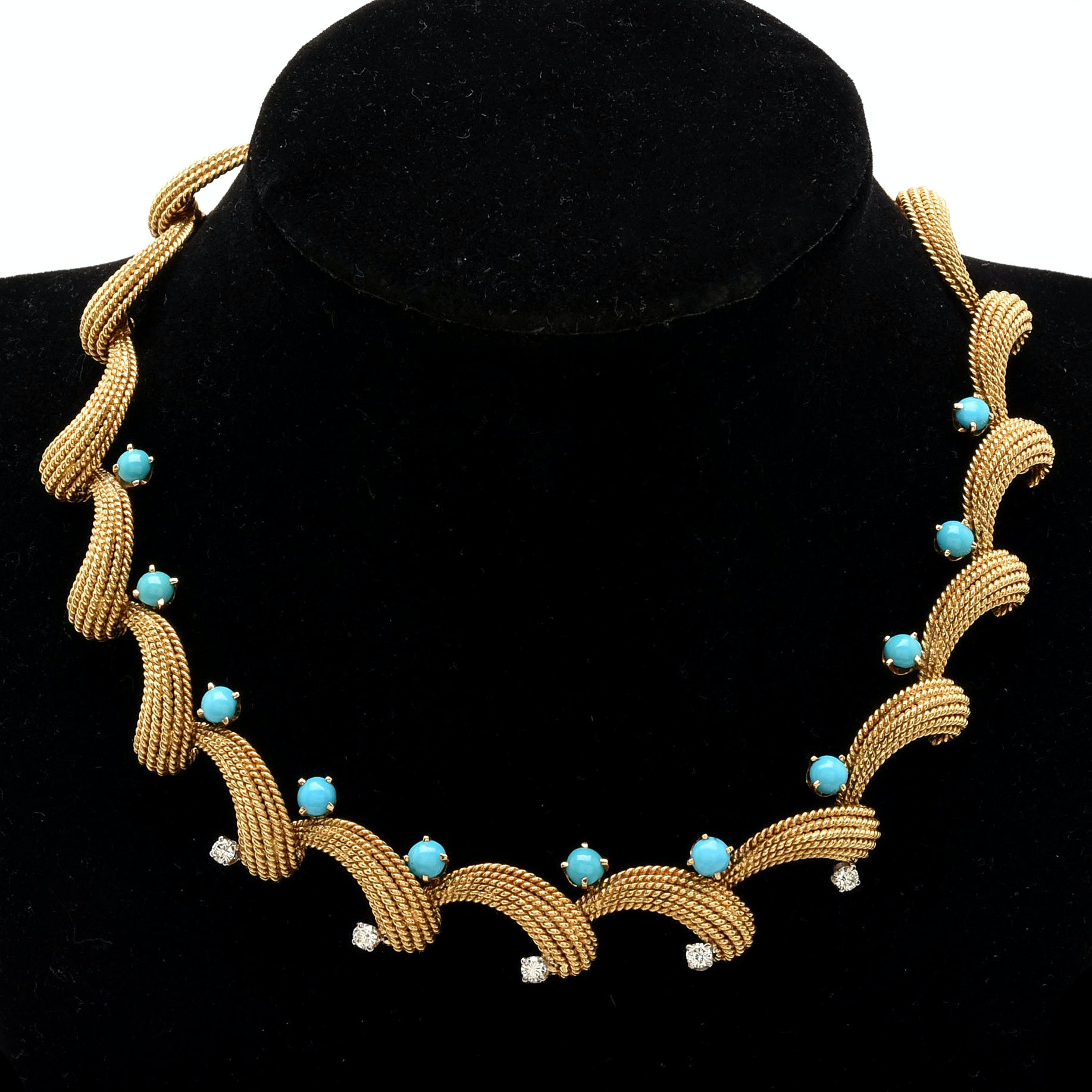 18K Yellow Gold Turquoise and Diamond Necklace