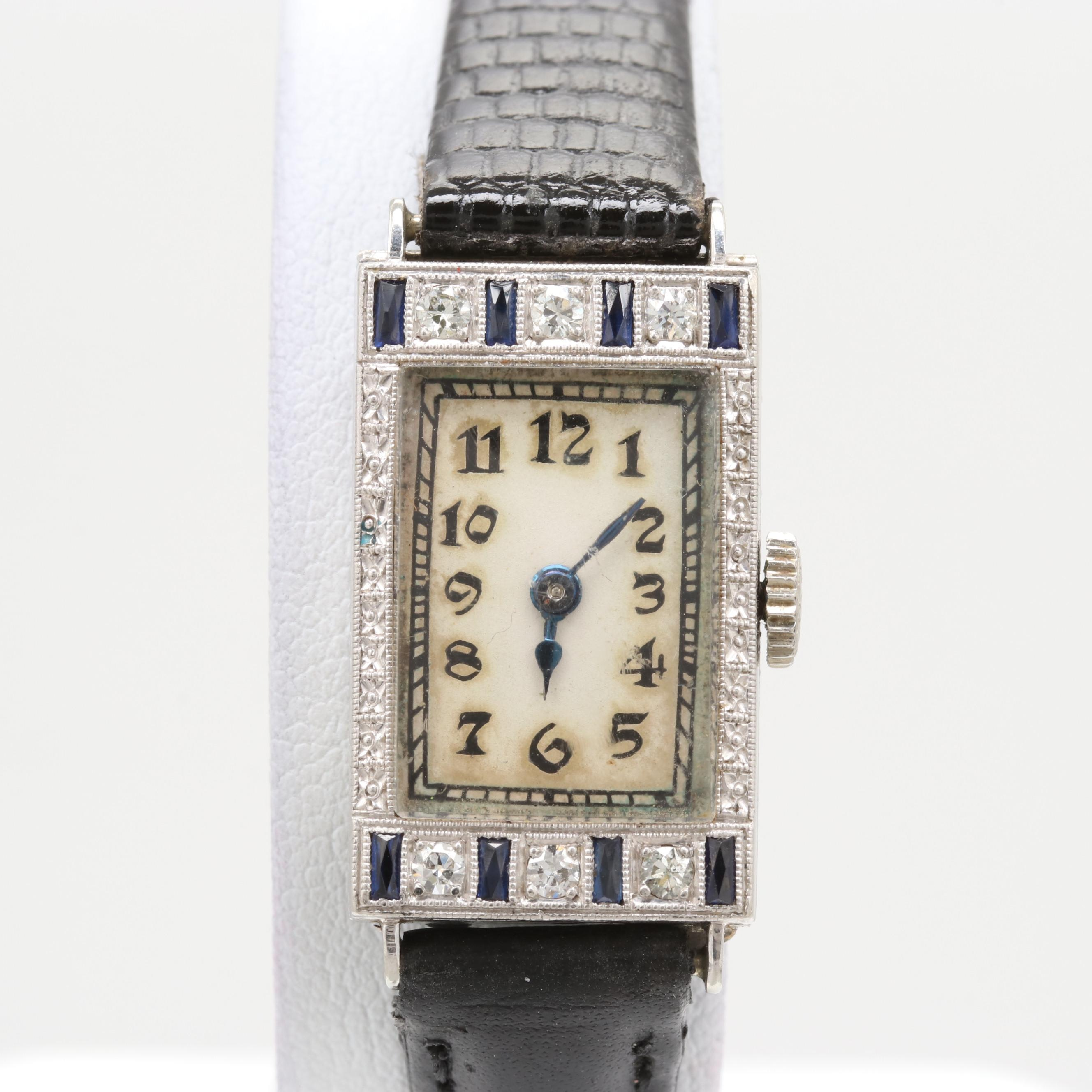 Swiss 18K White Gold Diamond and Sapphire Stem Wind Wristwatch