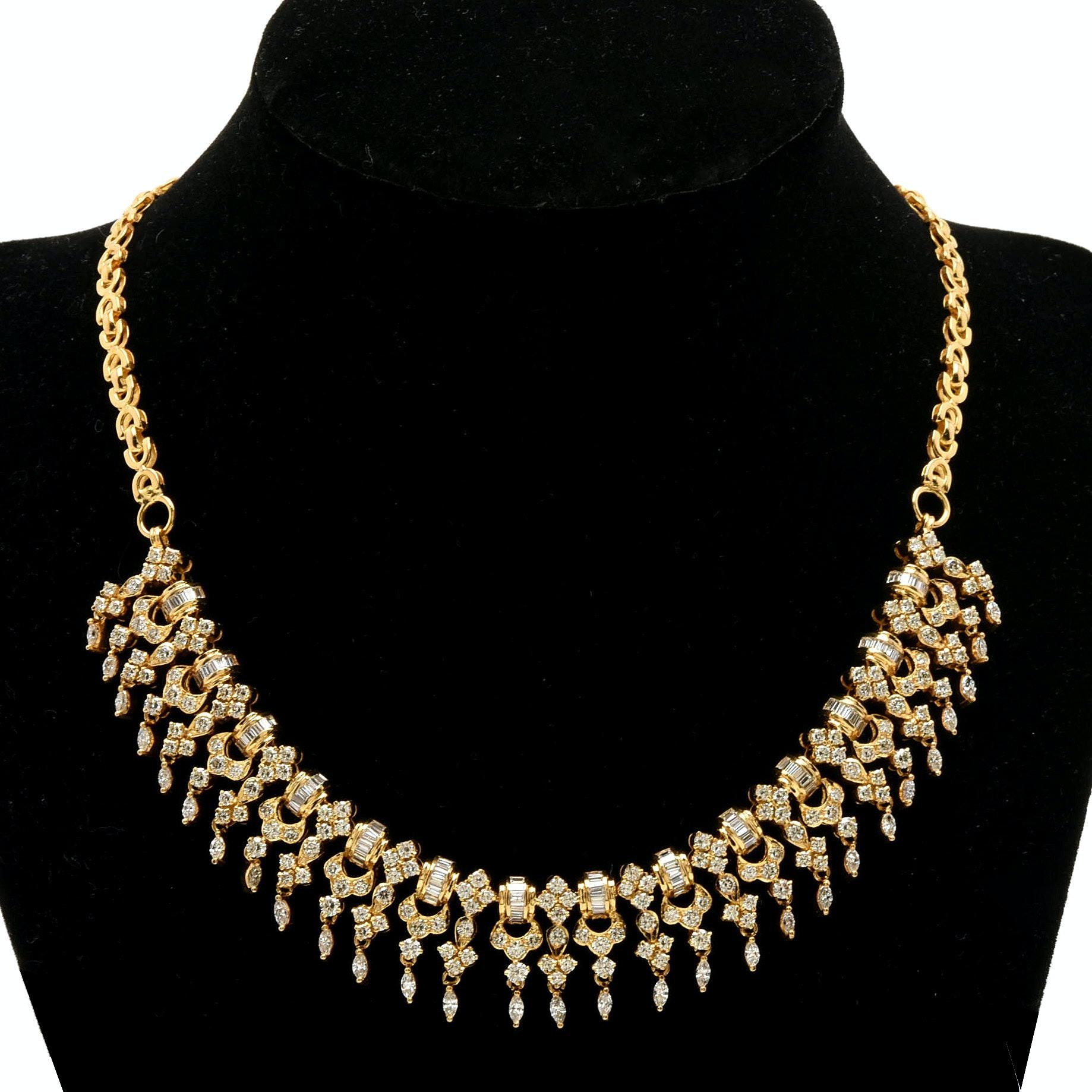 18K Yellow Gold 8.31 CTW Diamond Fringe Necklace