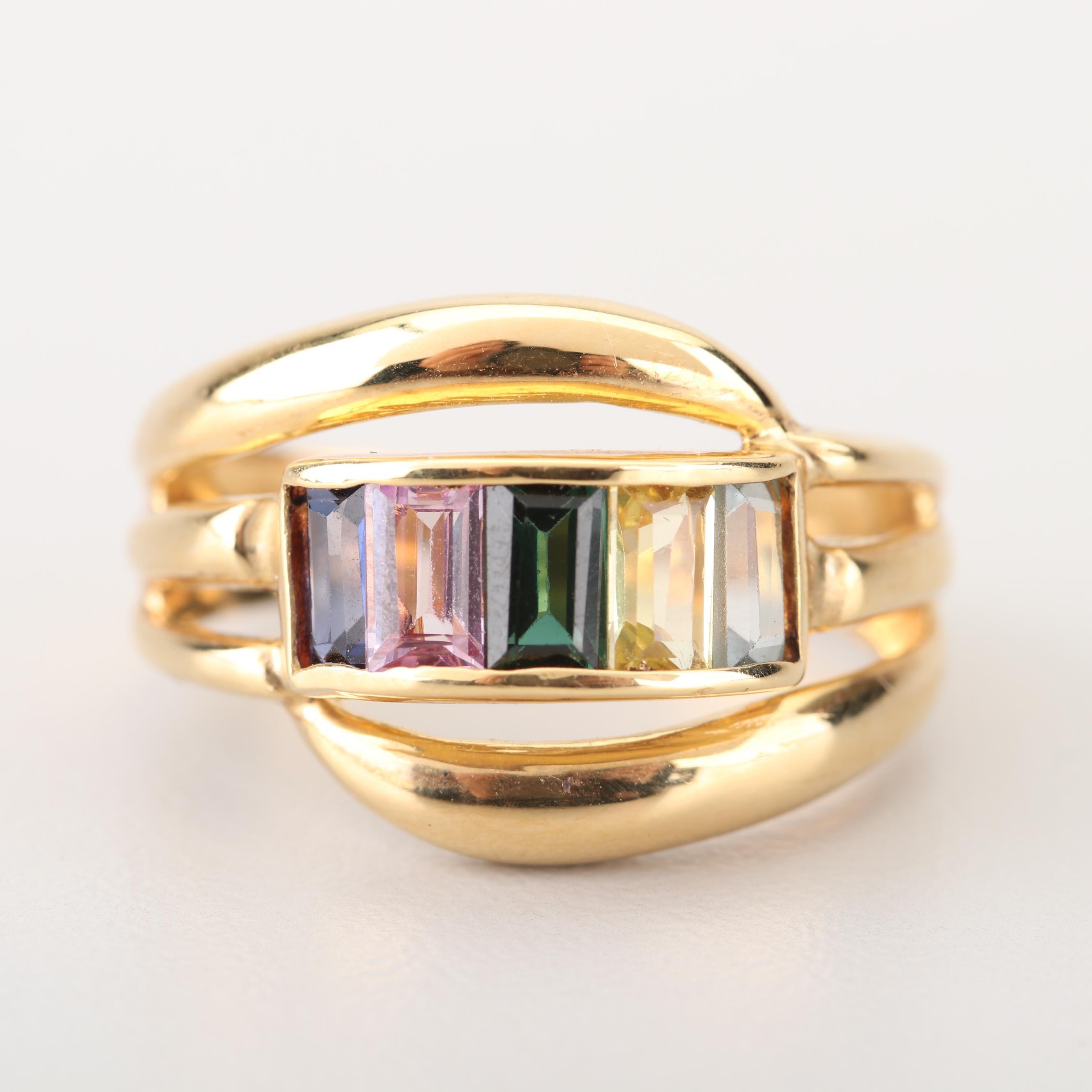 18K Yellow Gold Gemstone Ring
