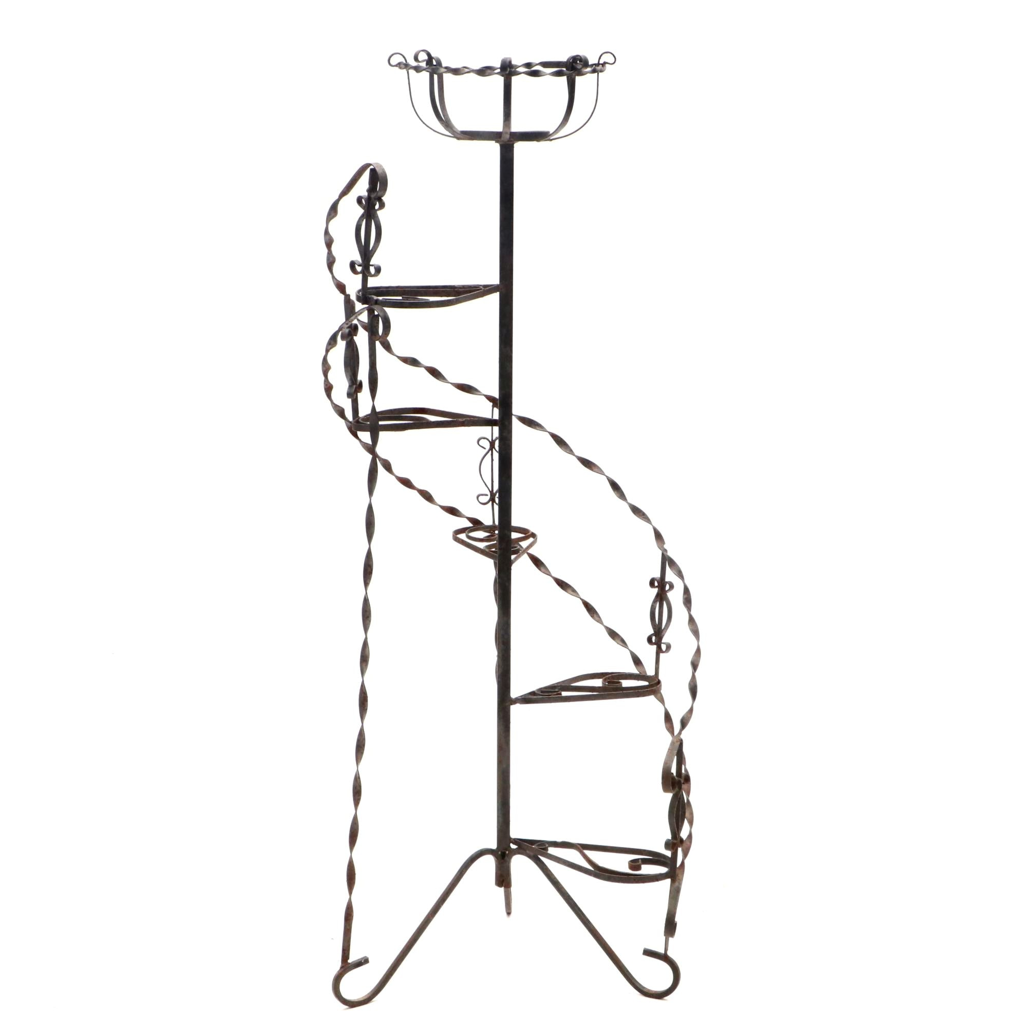 1970s Upright Wrought Iron Plant Stand