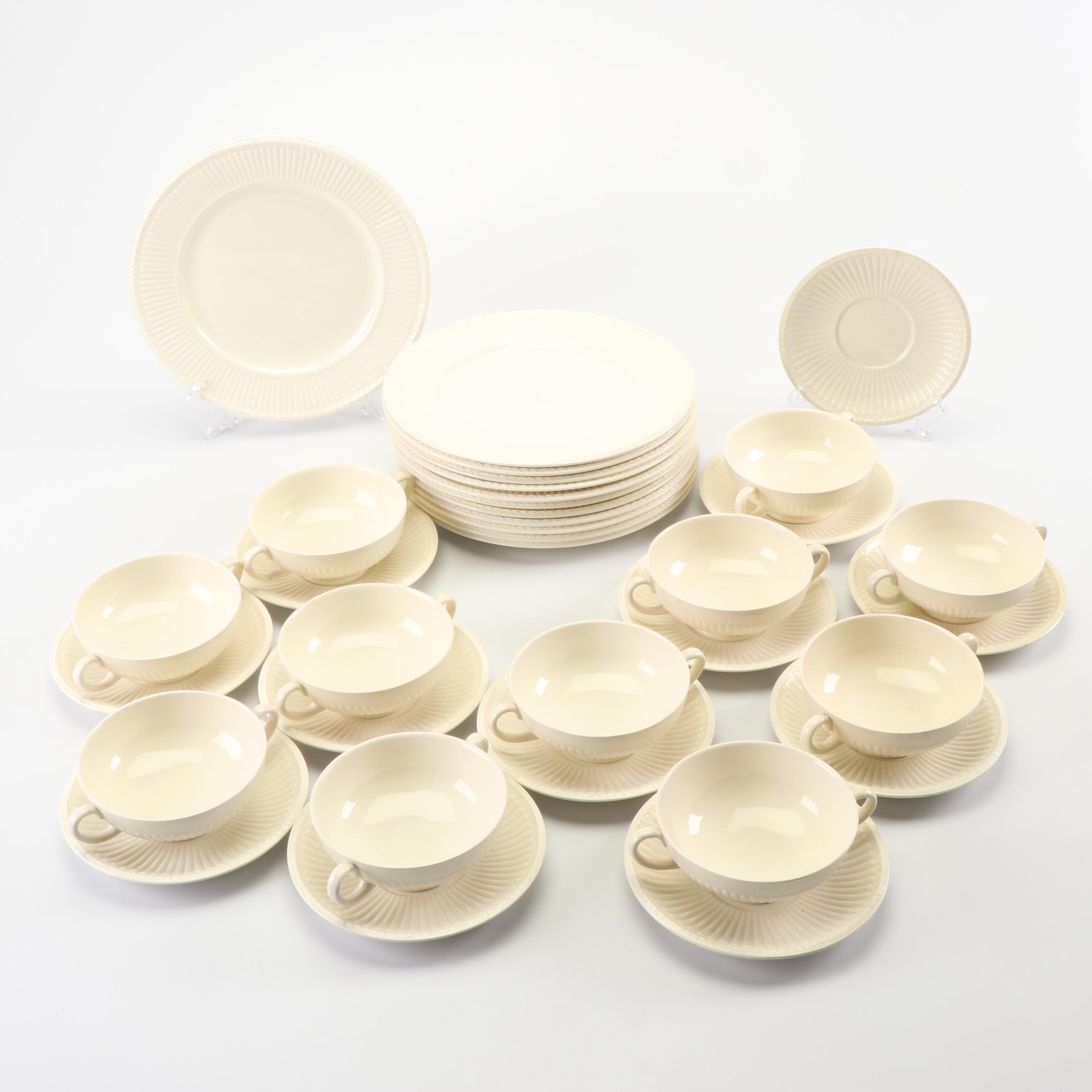 """Vintage Wedgwood """"Edme"""" Cream Soup Bowls with Saucers and Plates"""