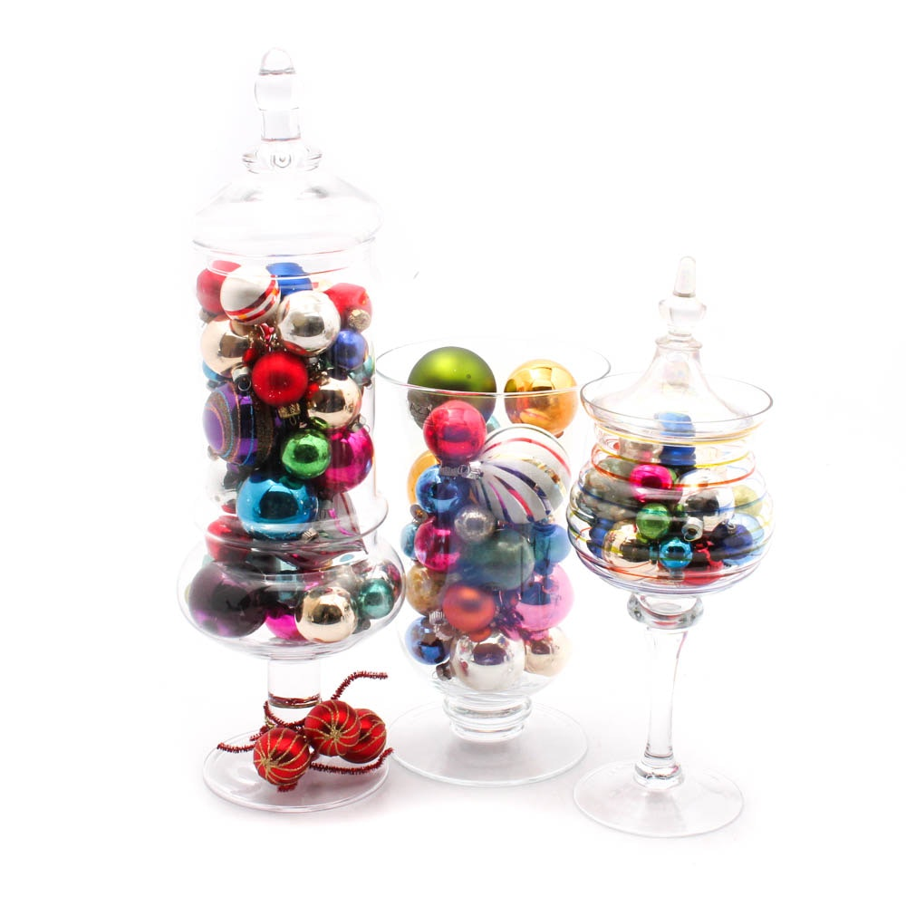Glass Vase and Christmas Ornament Collection
