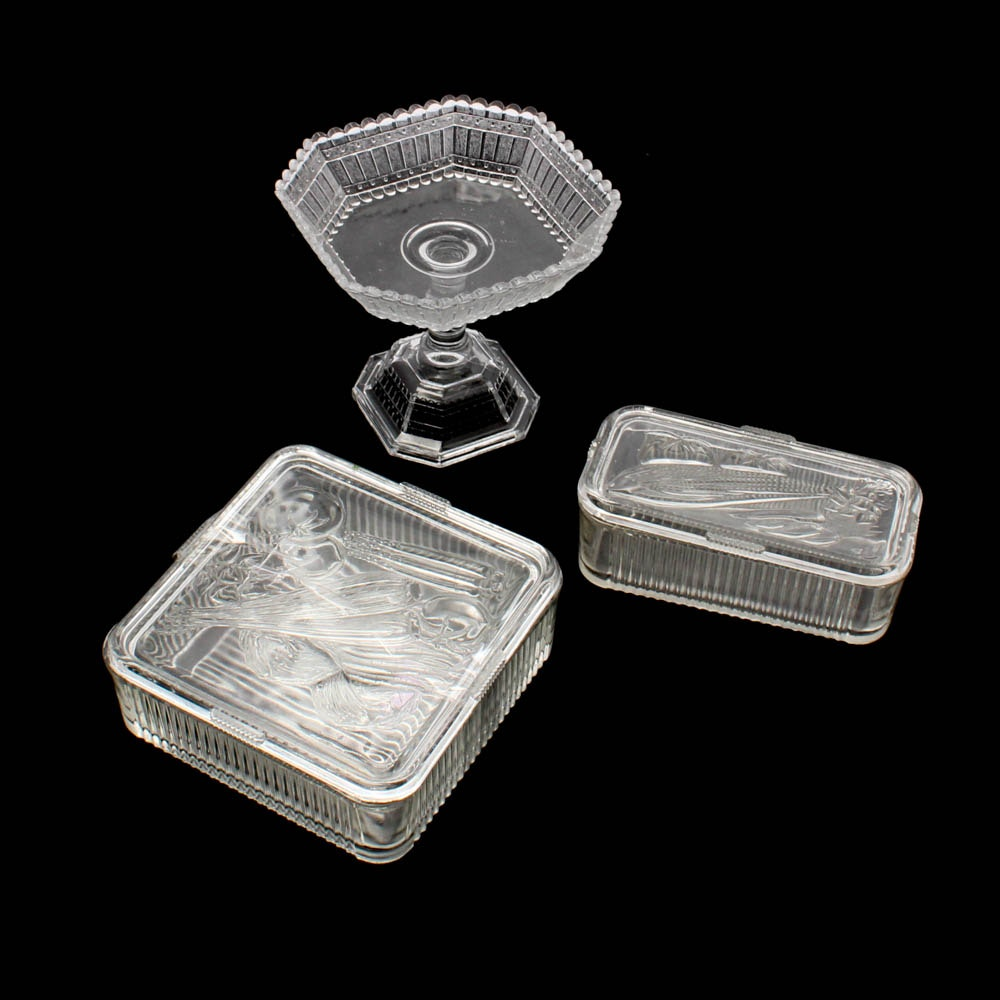 Federal Glass Refrigerator Dishes with EAPG Picket Fence Compote