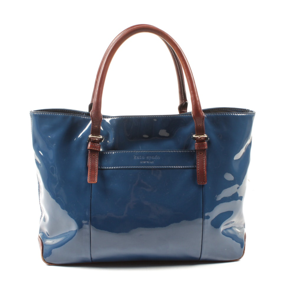 Kate Spade New York Blue Patent and Chestnut Leather Tote Bag