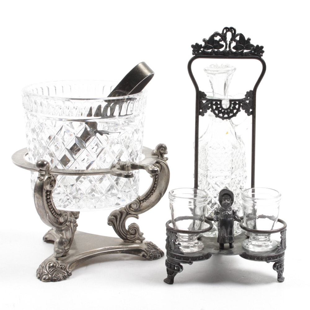 Silver Plate and Glass Cruet and Ice Bucket Sets