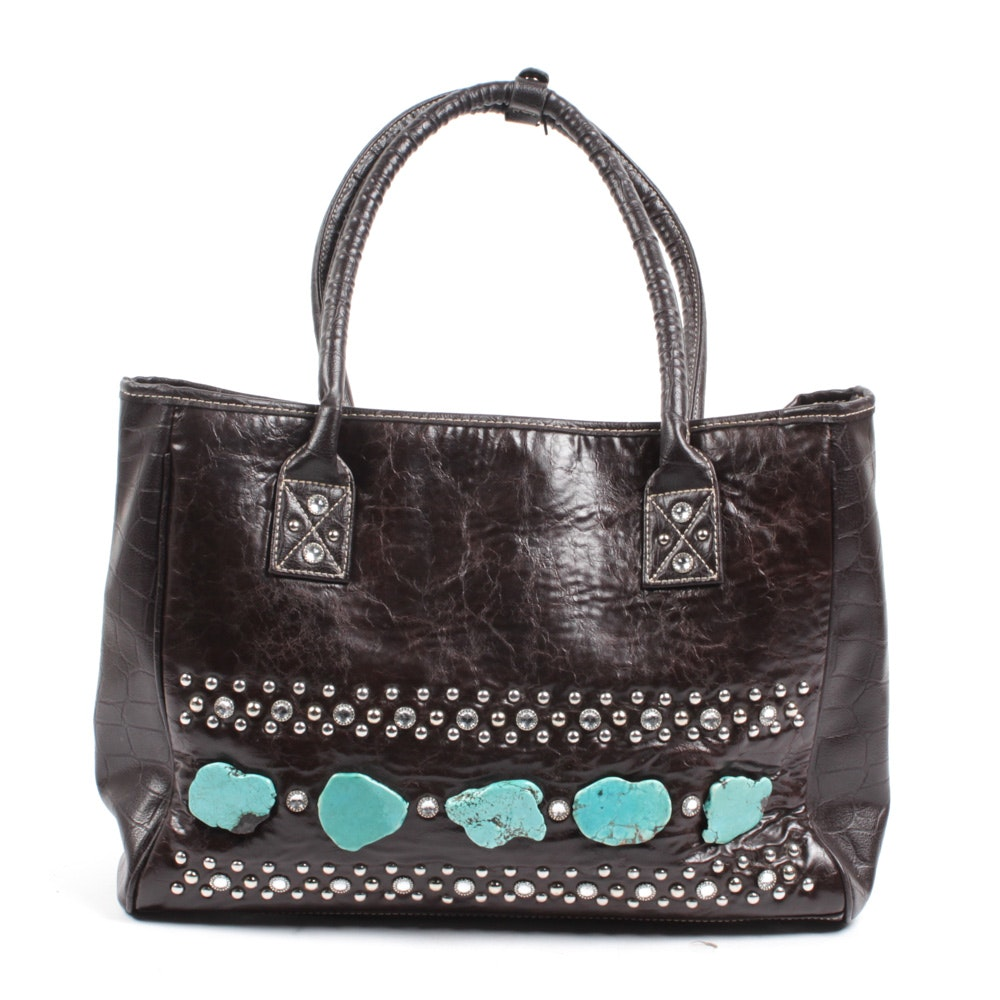 Country Road Turquoise-Accented Faux Leather Handbag