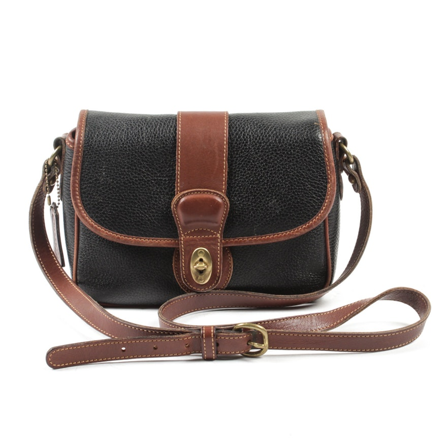 a3d9aa33c6ca Vintage Coach Mayfield Black Pebbled and Brown Leather Crossbody Bag   EBTH