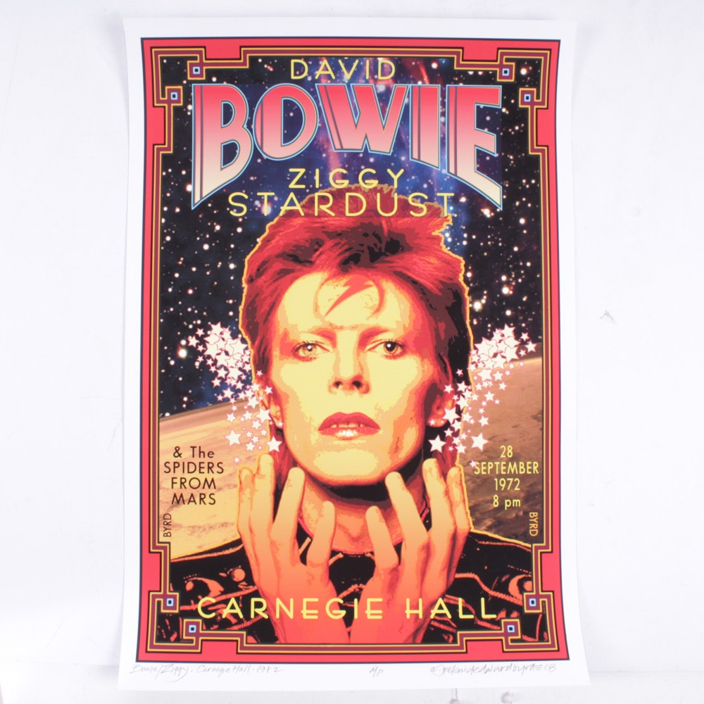 David Edward Byrd Giclee Print of David Bowie Concert Poster