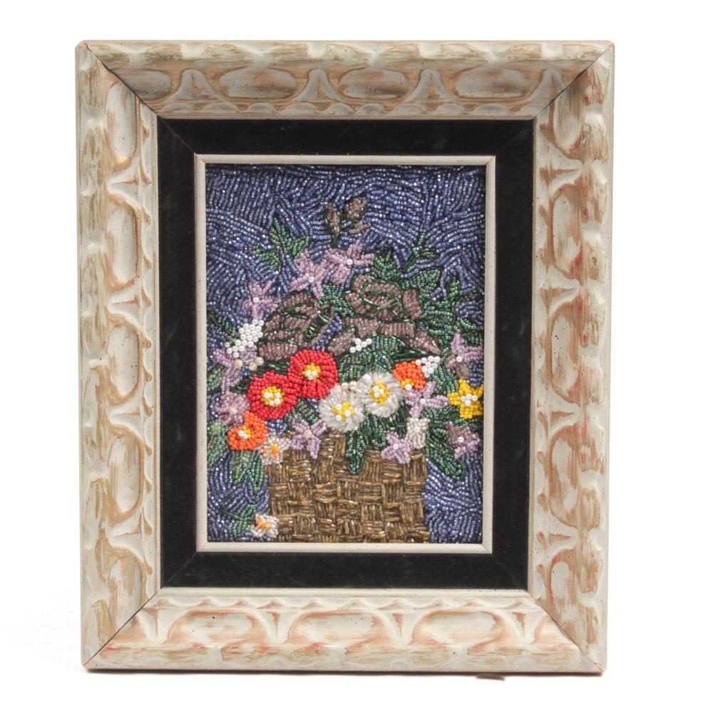 Hand-Beaded Floral Still Life