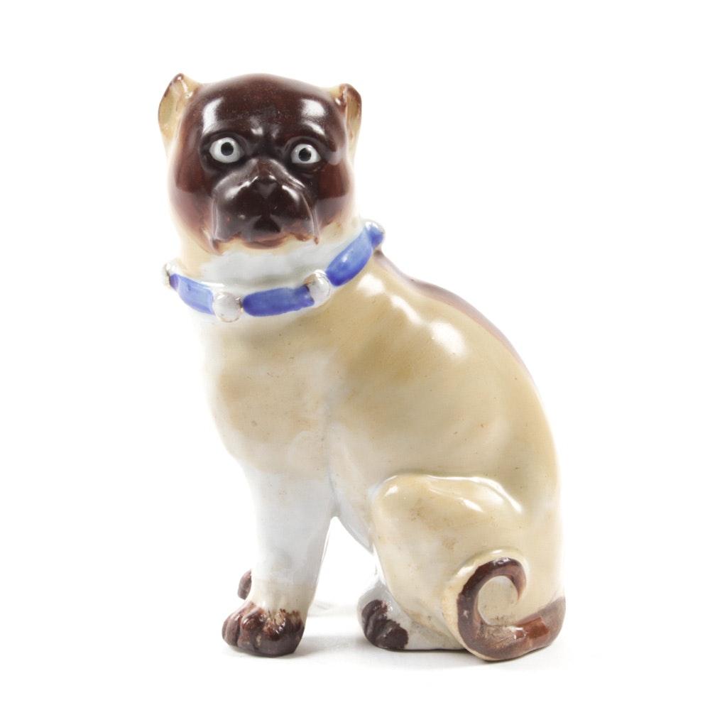 19th Century German Porcelain Dog Figurine