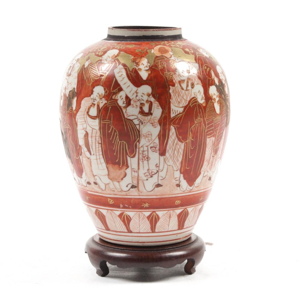 Meiji Period Japanese Kutani Vase on Stand