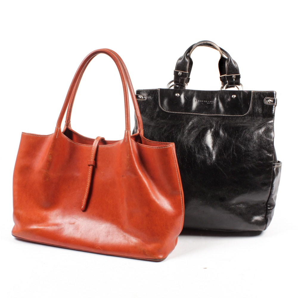 Guia's of Italy Cognac Leather and Kenneth Cole New York Black Leather Totes