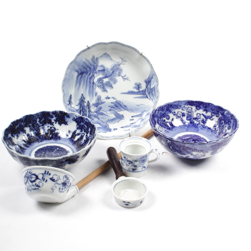 Vintage Chinese Transferware Serving with Blue Onion Style Tea Accessories
