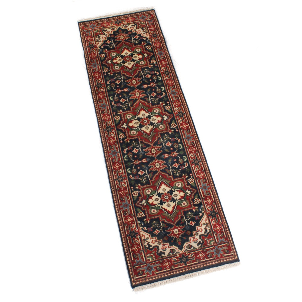 Hand-Knotted Indo-Persian Heriz Rug Runner