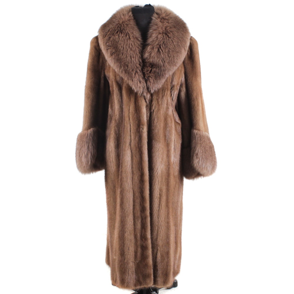 Brown Mink Fur Coat With Fox Fur Collar and Cuffs