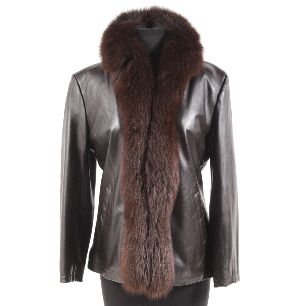 Brown Leather and Fox Fur Collar Jacket