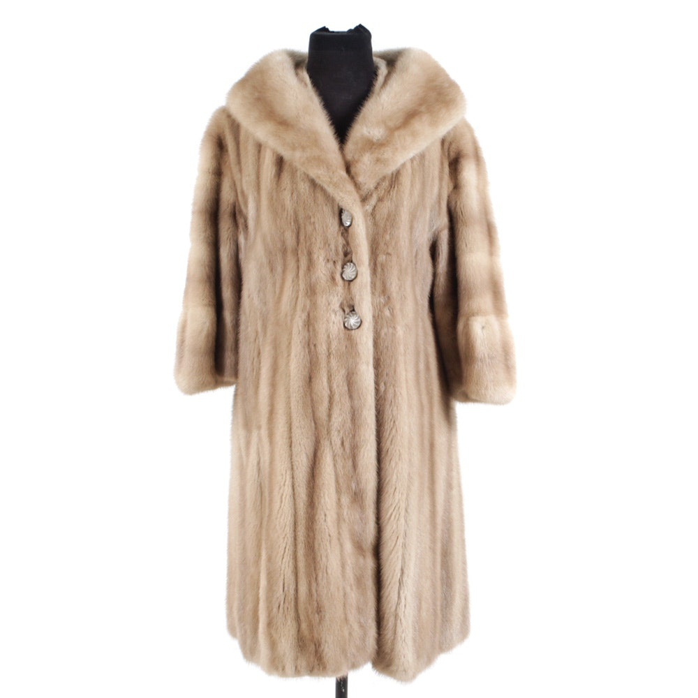 Vintage Blonde Mink Fur Coat with Shawl Collar