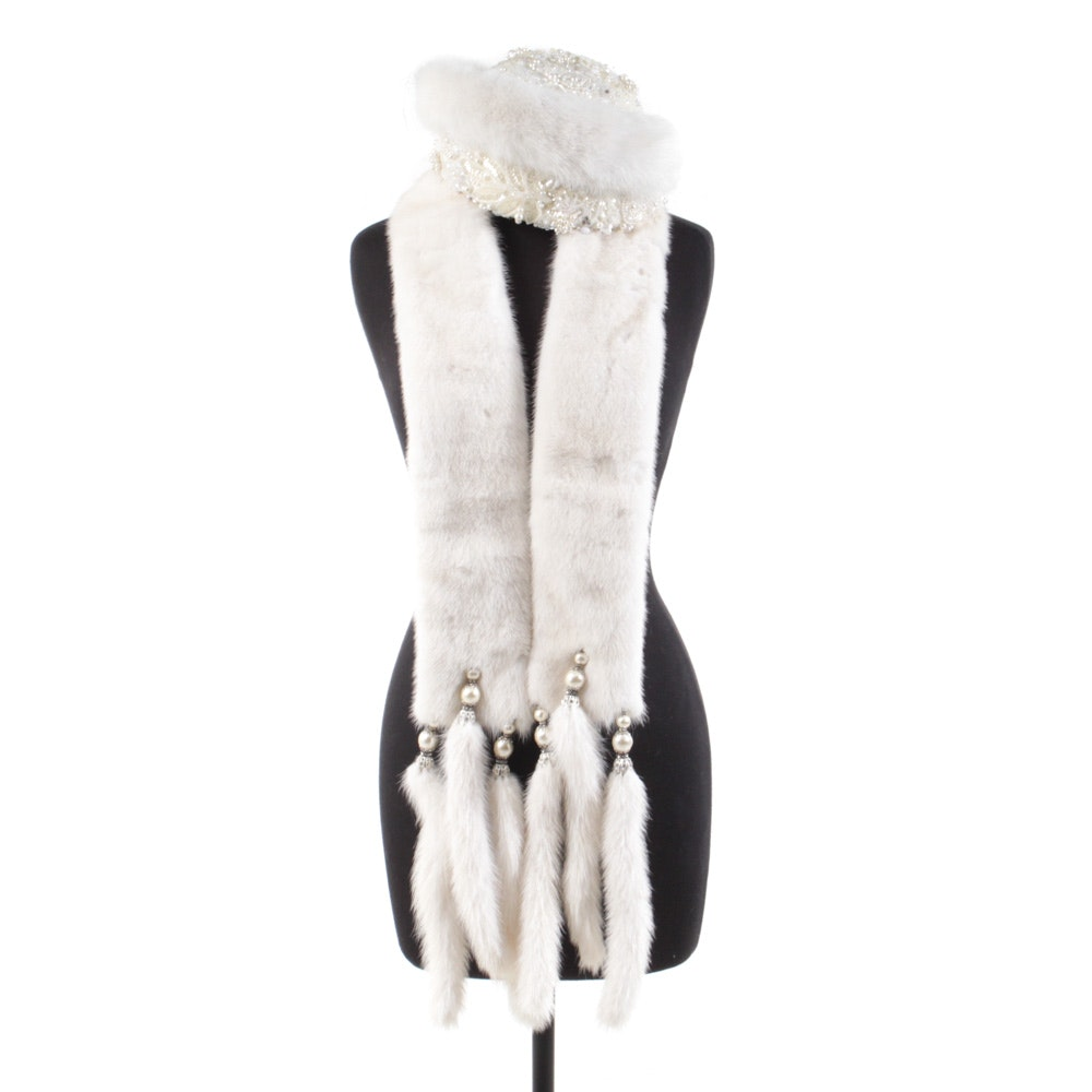 Vintage Hand-Embellished Mink Fur Hat and Scarf with Tails