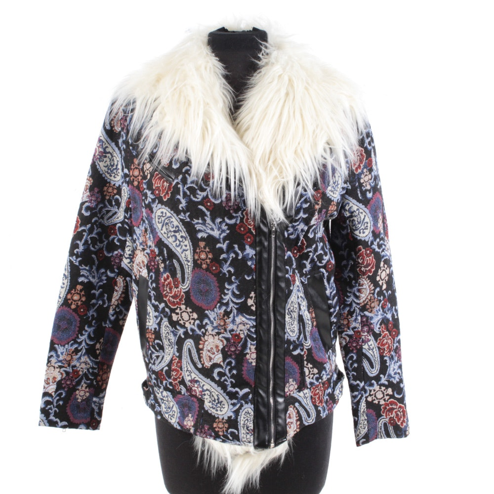 Needlepoint Faux Tibetan Lamb Fur Motorcycle Jacket