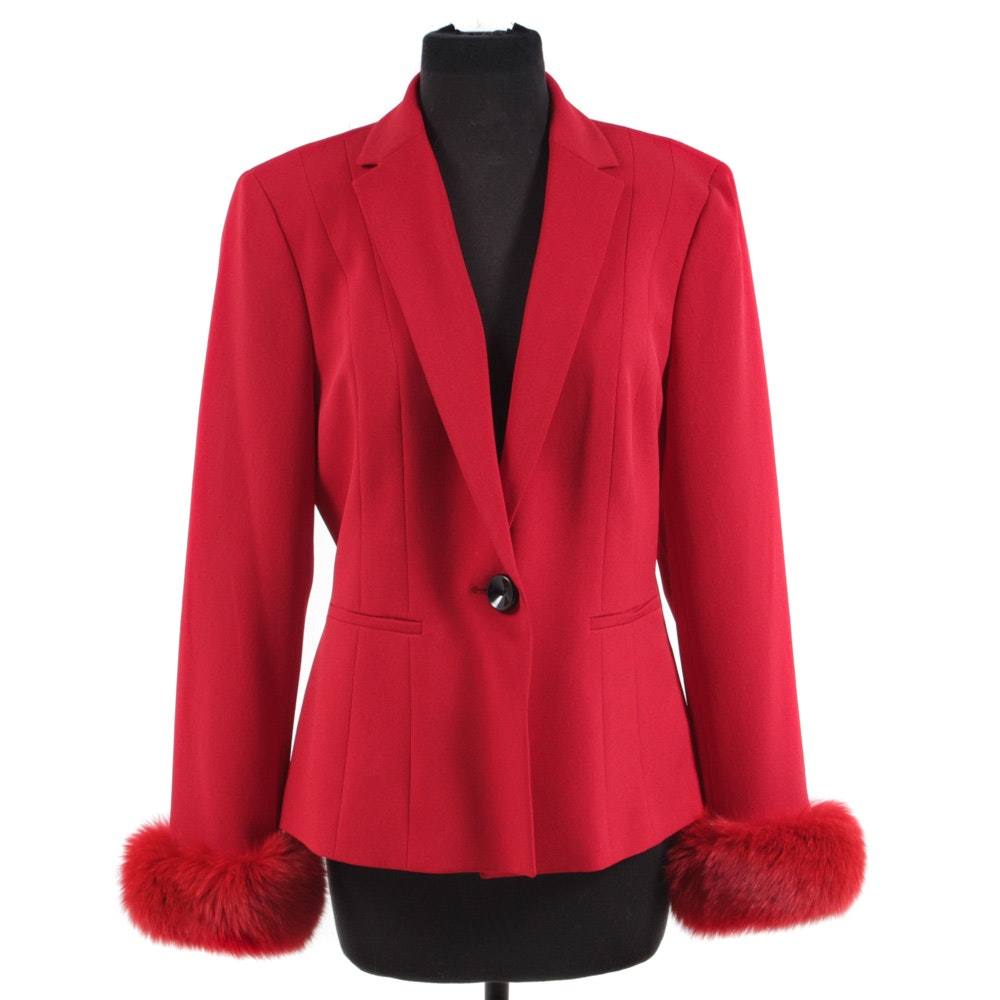 Vintage Single-Button Red Blazer with Dyed Red Fox Fur Cuffs