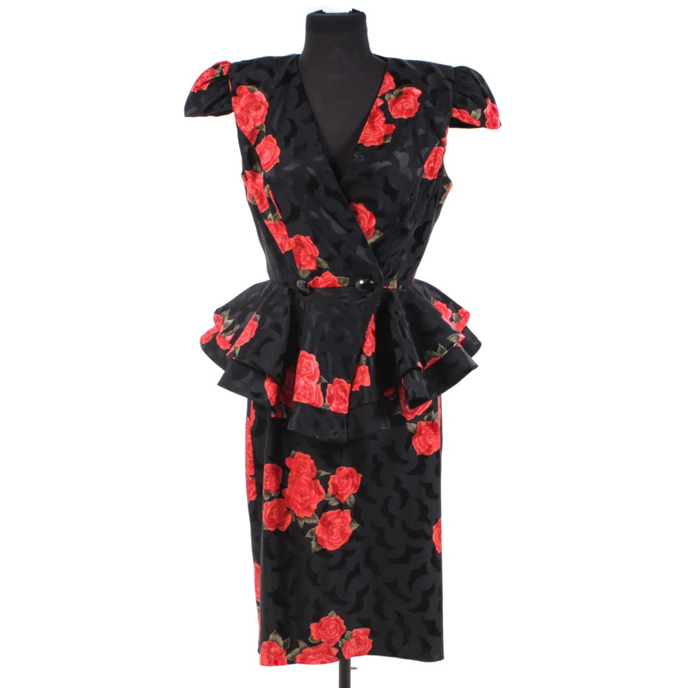 Raul Blanco Black Silk Peplum Blouse and Pencil Skirt Suit with Red Roses