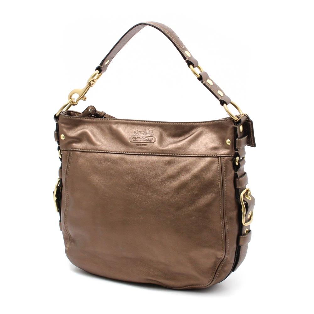 """Coach """"Zoe"""" Metallic Leather Hobo Bag"""