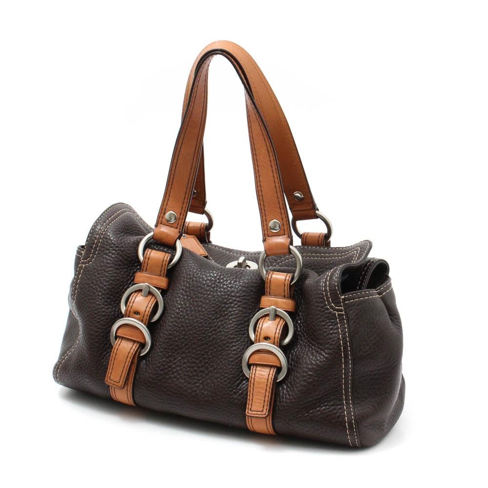 Coach Brown Pebbled Leather Turnlock Handbag