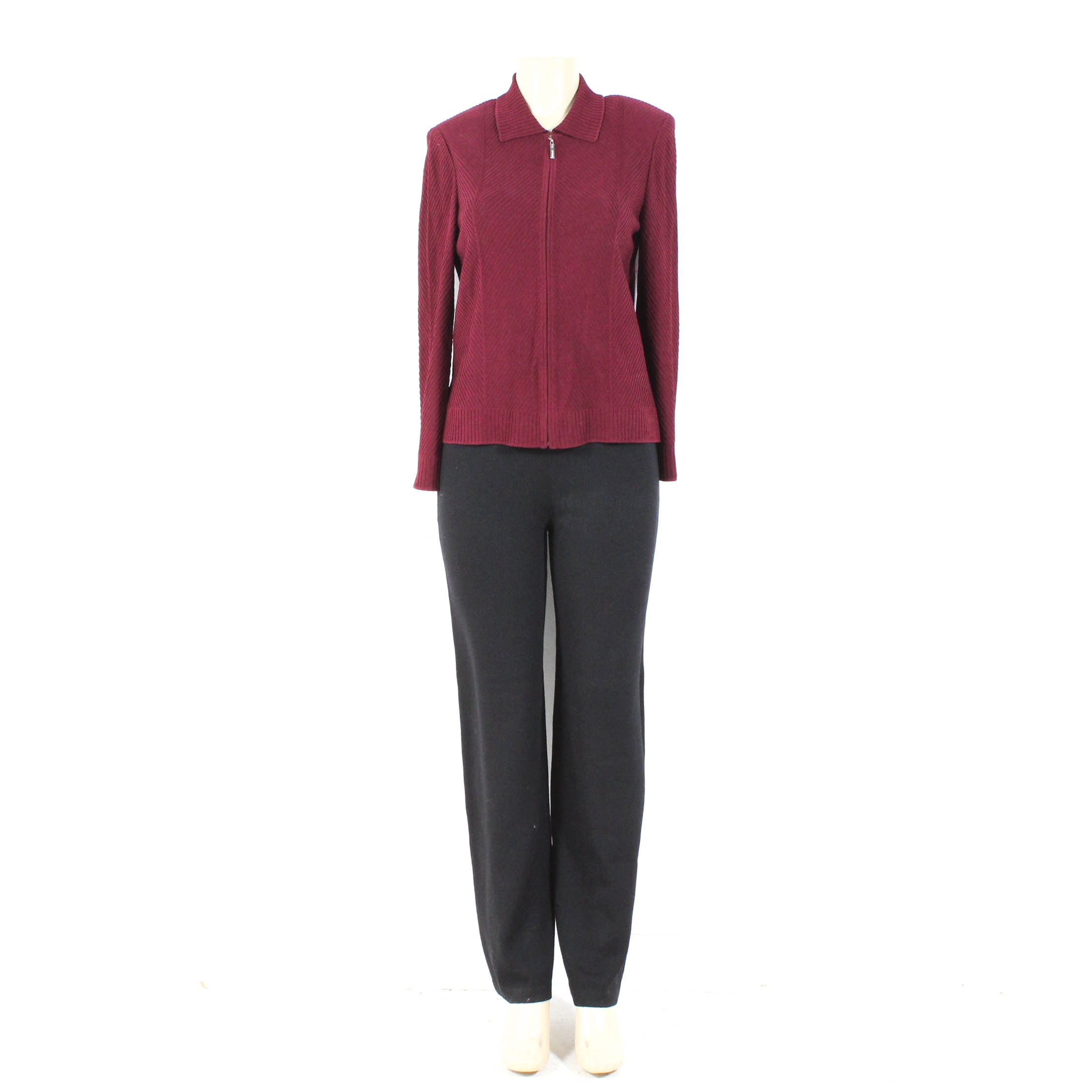 St. John Burgundy Knit Zipper-Front Sweater and St. John Caviar Black Knit Pants