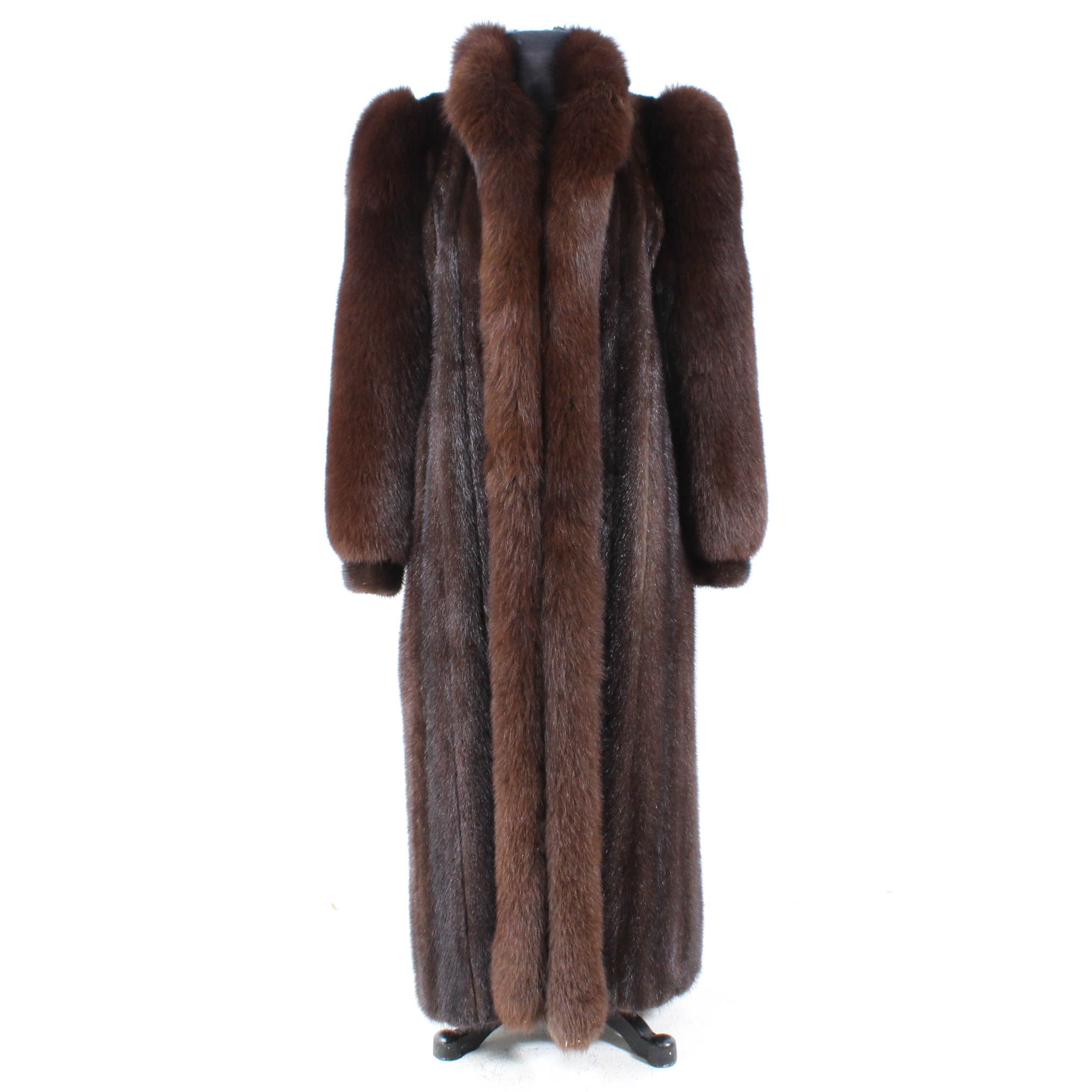 Mahogany Mink and Fox Fur Coat by John Tauben