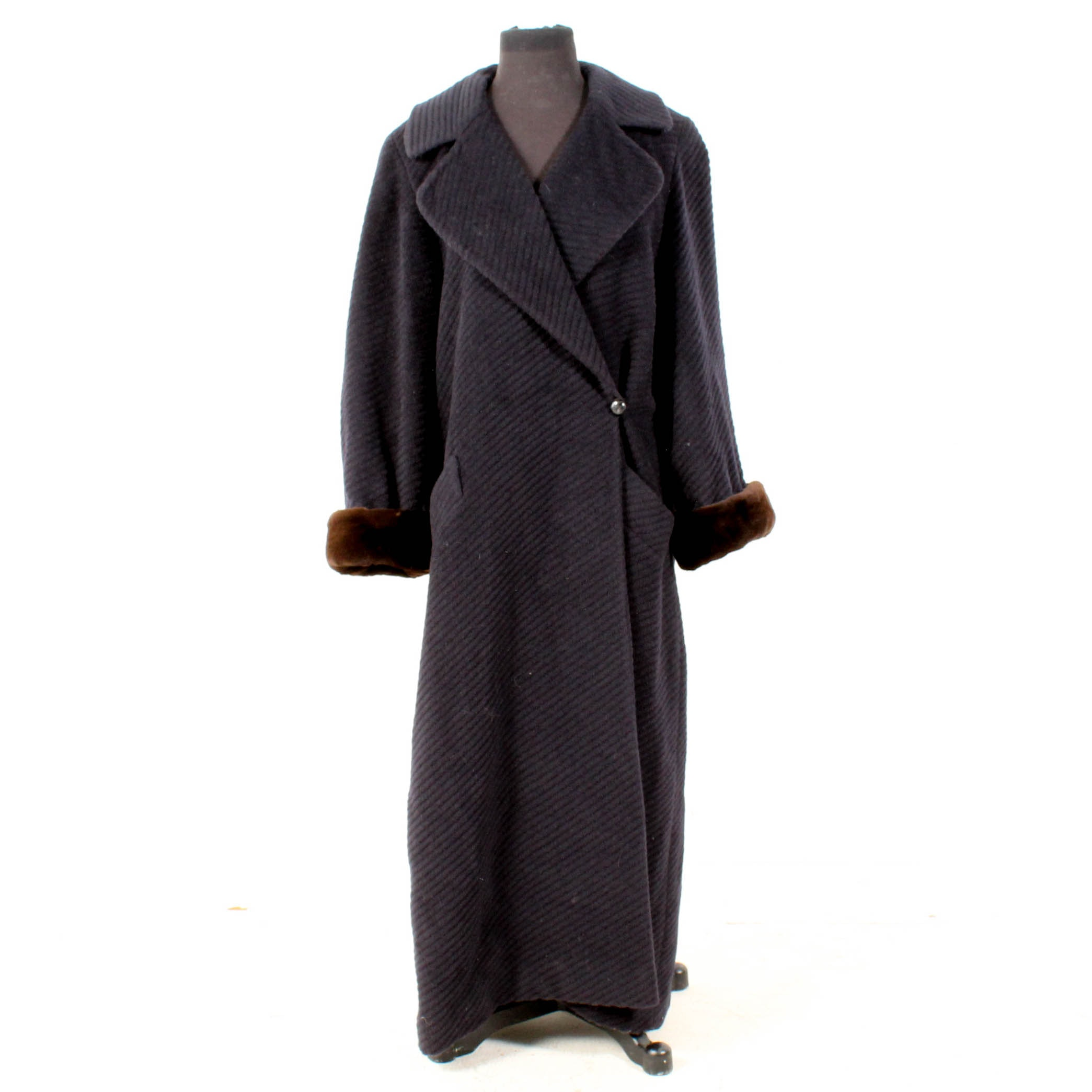 Louis Dell'Olio Luxe Wool Coat with Sheared Mink Fur Cuffs